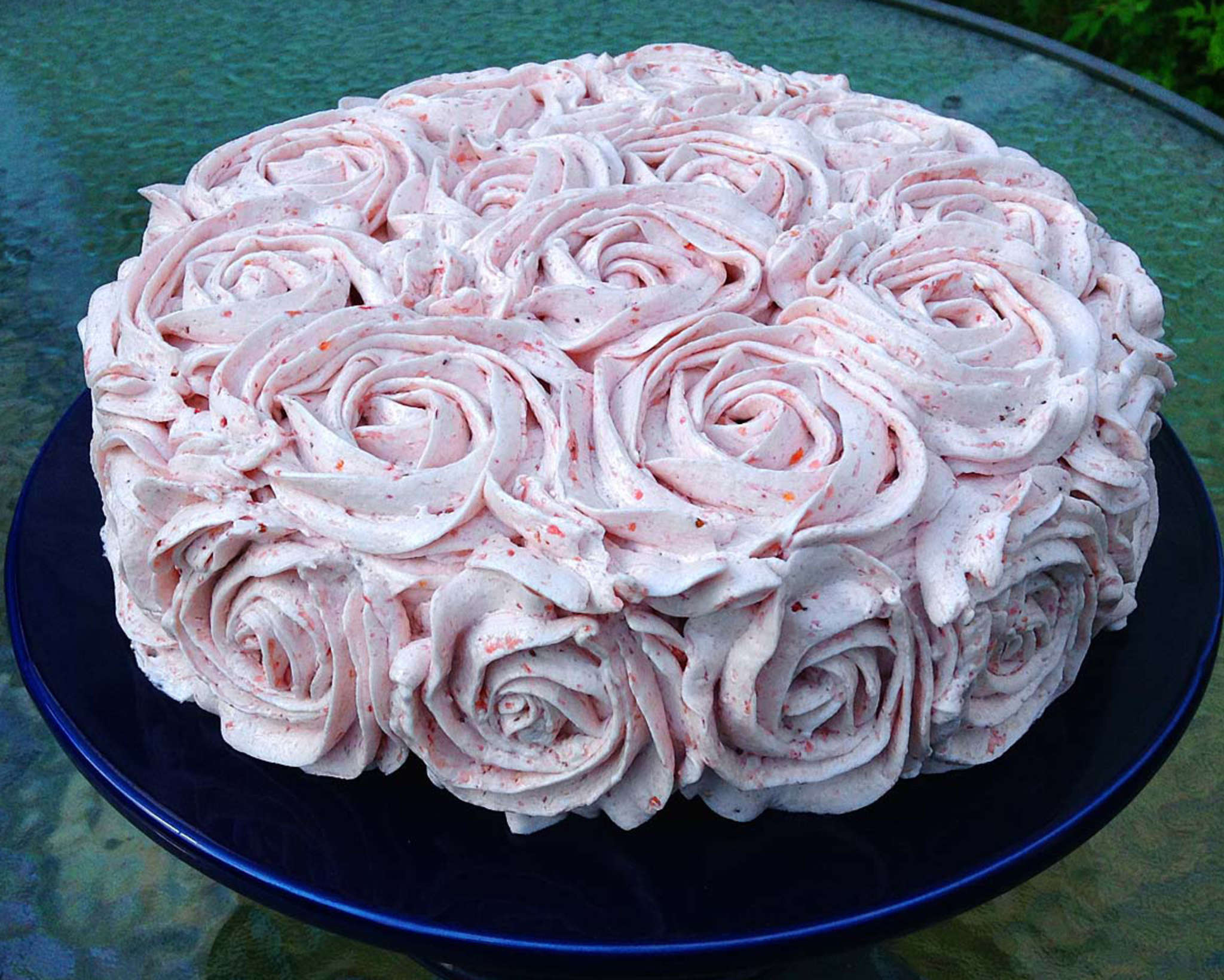 A luscious vegan vanilla cake with strawberry buttercream , and, thanks to aquafaba, no egg was harmed in the making of it.