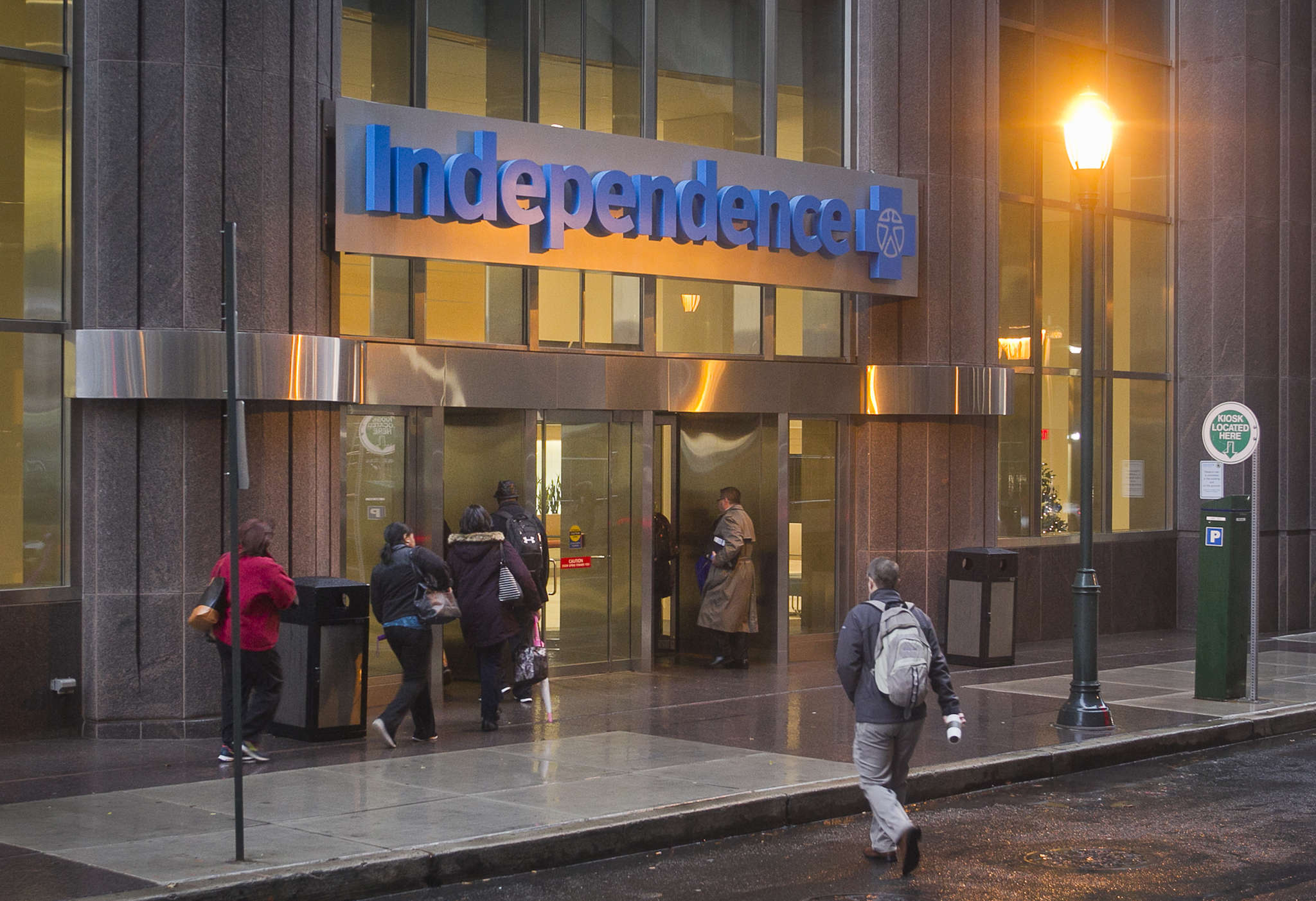 At Independence Blue Cross, the Market Street columns were entombed to enlarge the lobby and the entrance was shifted to 19th Street.