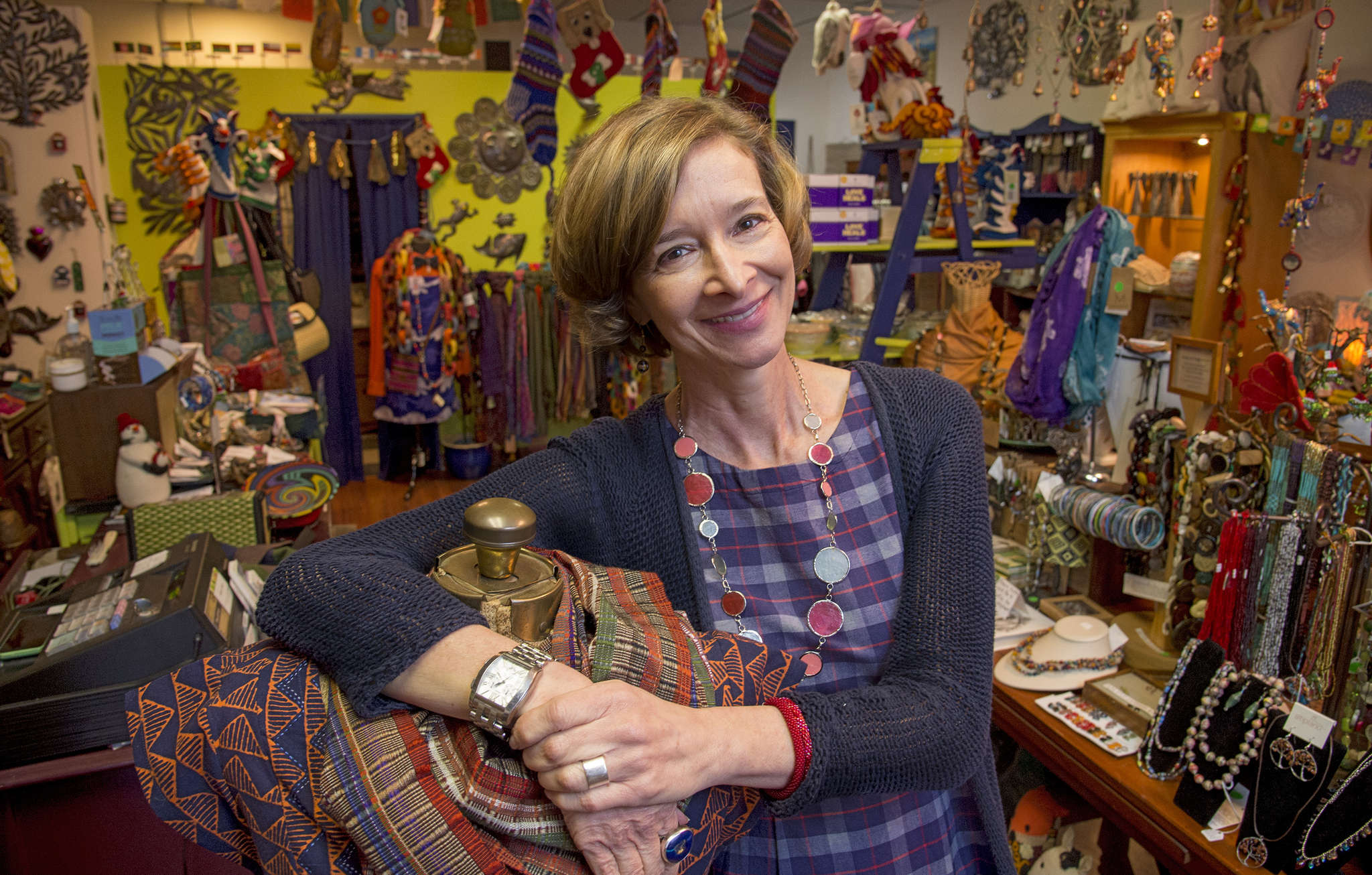 """Donna Gottardi opened My Fair Trade Lady in Haddon Heights in 2013. """"It´s about raising awareness,"""" she said of the inventory, which was produced in safe conditions and for a fair price."""