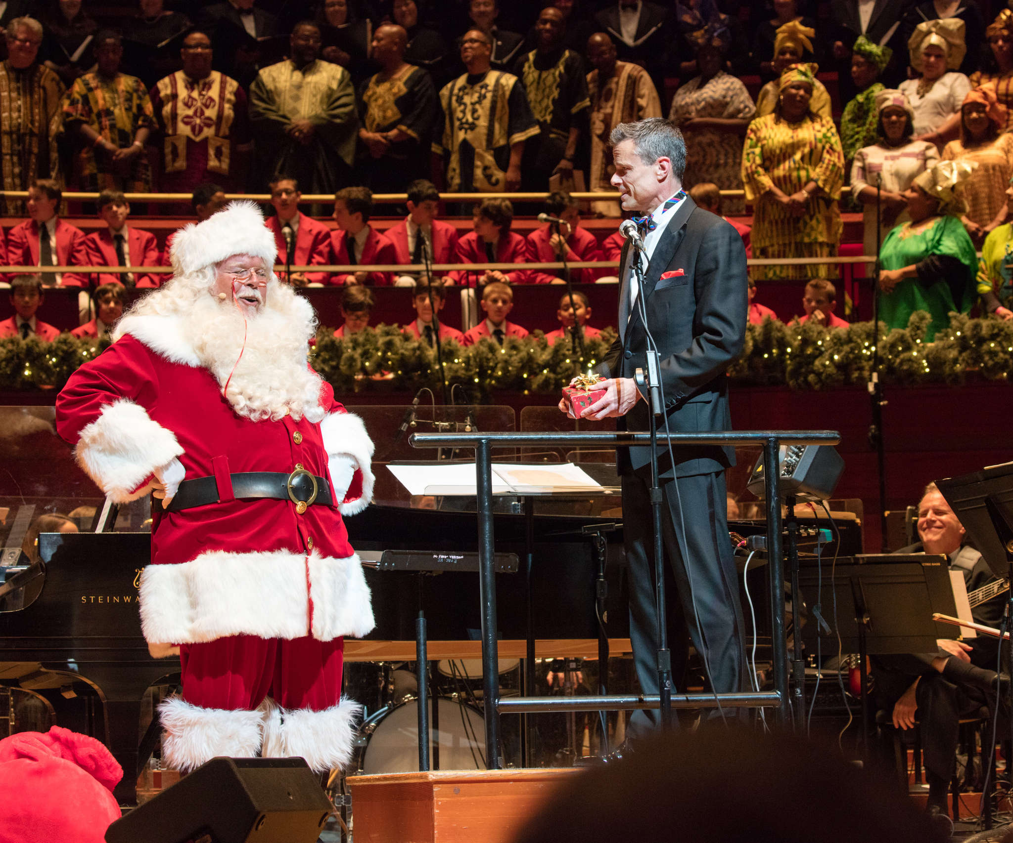 Philly Pops conductor David Charles Abell with Santa Claus.