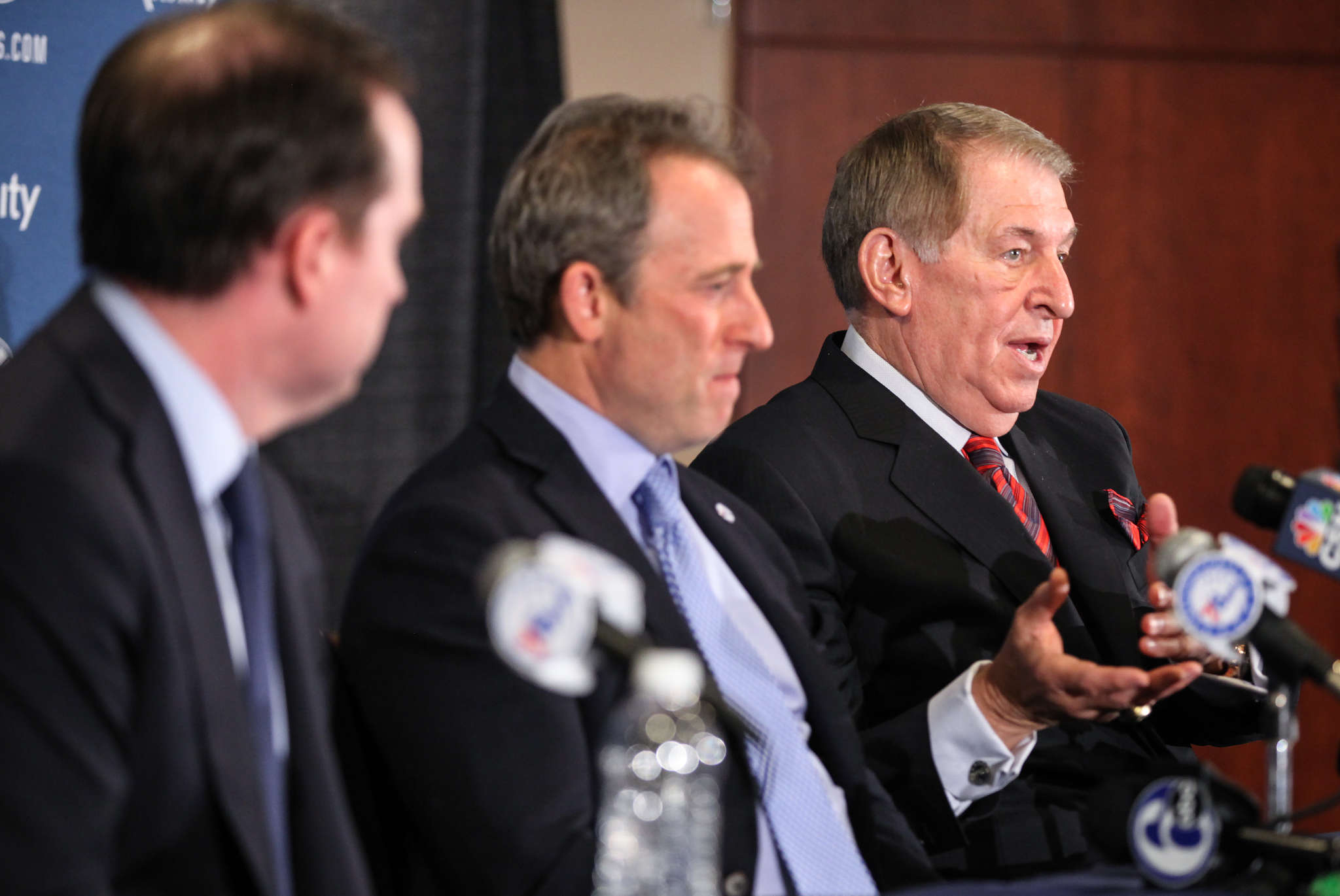 "Sixers general manager Sam Hinkie (left) and owner Josh Harris (center) announced the hiring of Jerry Colangelo (right) on Monday. One NBA executive who believes Hinkie´s future with the team is bleak said, ""I can´t see him surviving this."""