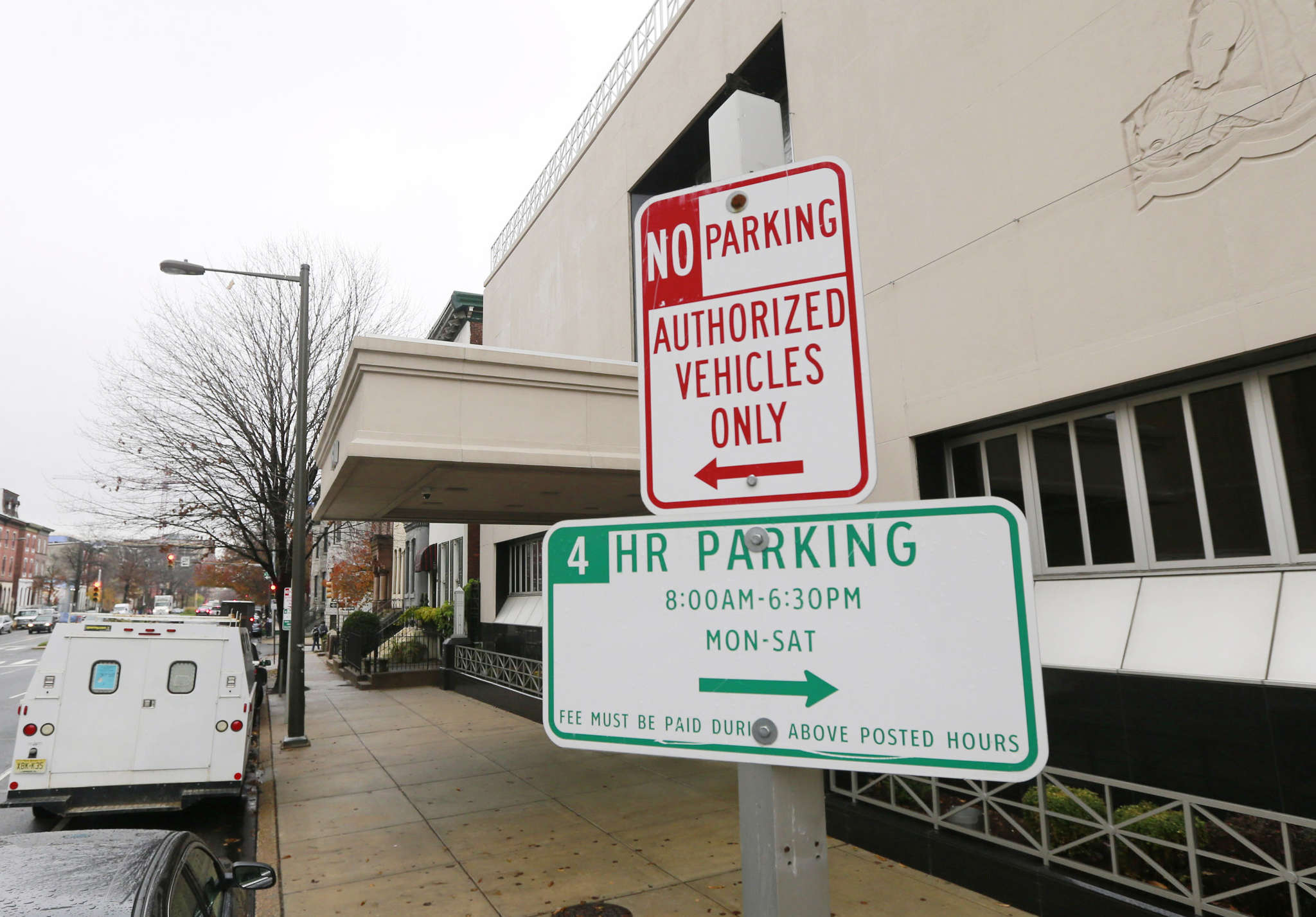 """DAVID SWANSON / STAFF PHOTOGRAPHER """"No Parking - Authorized Vehicles Only"""" signs on Spring Garden."""