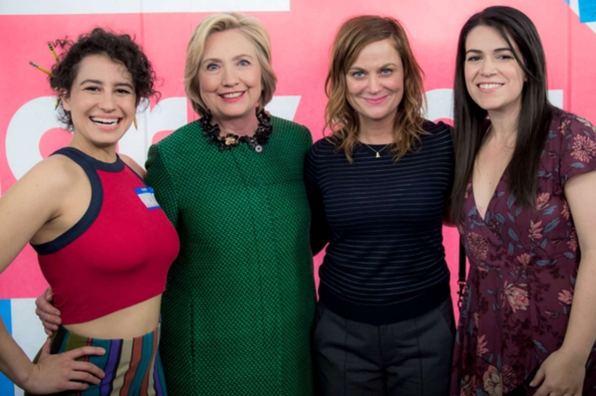 "Hillary Clinton posted on Twitter a photo of her from the set of Comedy Central´s ""Broad City,"" with (from left) co-star Ilana Glazer, executive producer Amy Poehler, and co-star Abbi Jacobson."