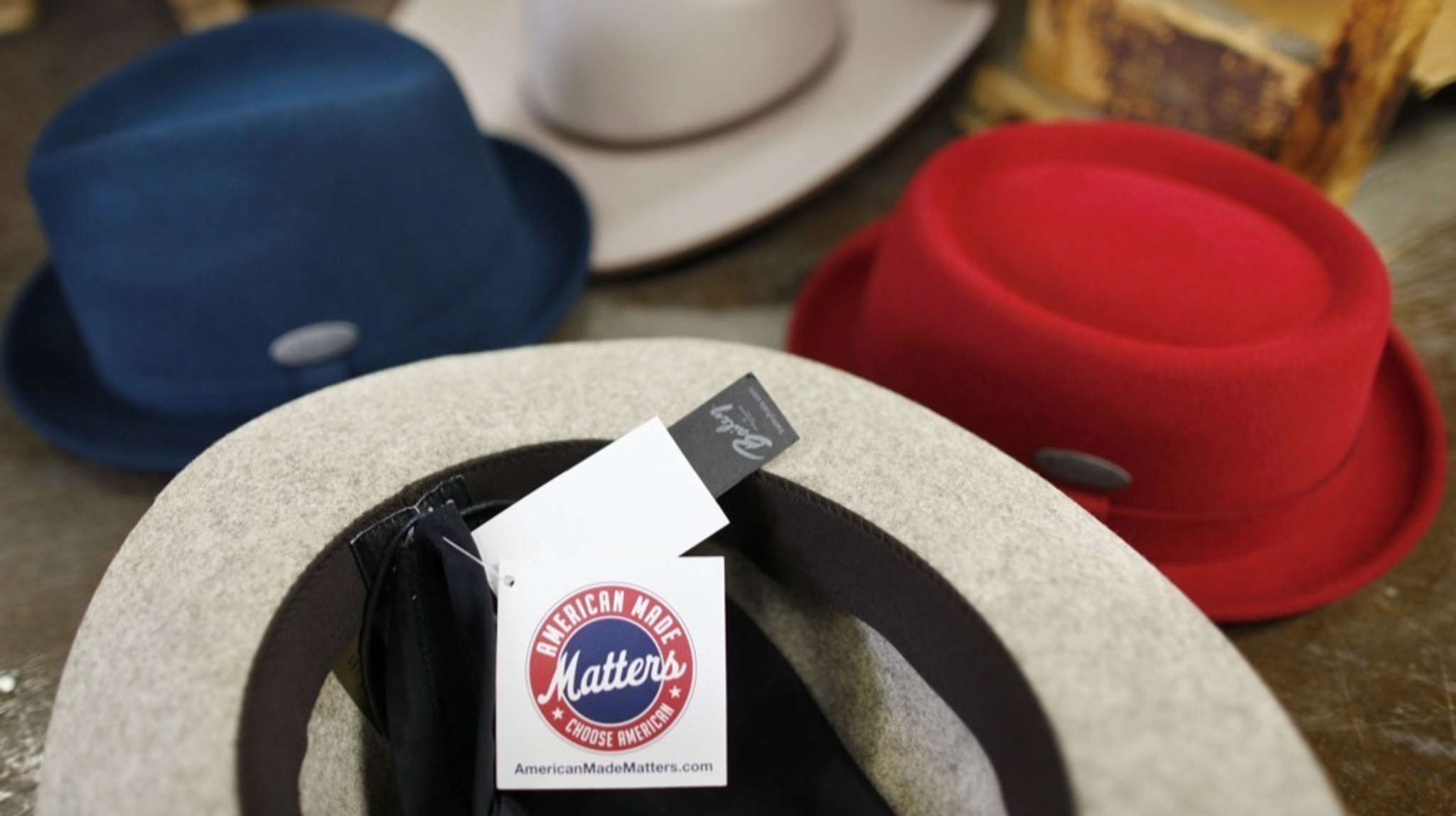 """""""American Made Matters"""" tags adorn hats at Lancaster County´s Bollman Hat Co."""