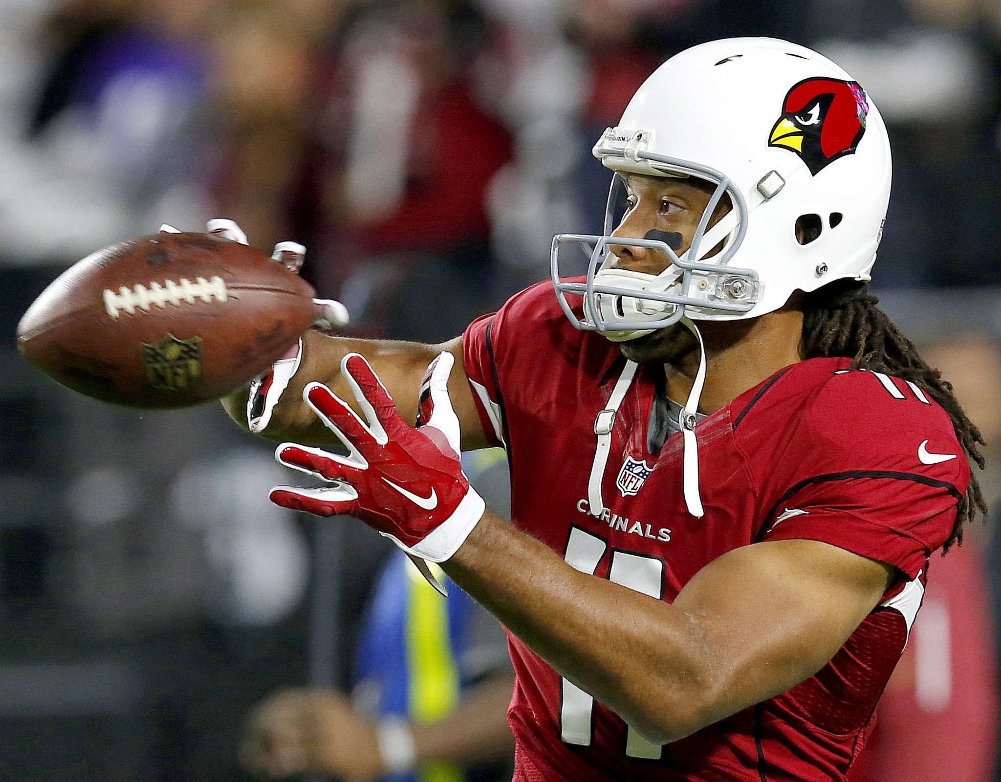 Larry Fitzgerald has 11 touchdowns vs. Eagles in seven games. ASSOCIATED PRESS