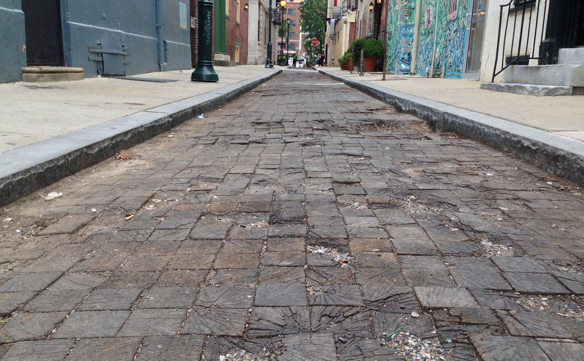 Wooden pavers on the 200 block of Camac Street rotted after a 2012 reconstruction. They´ve been covered with asphalt and are scheduled to be restored in 2016.