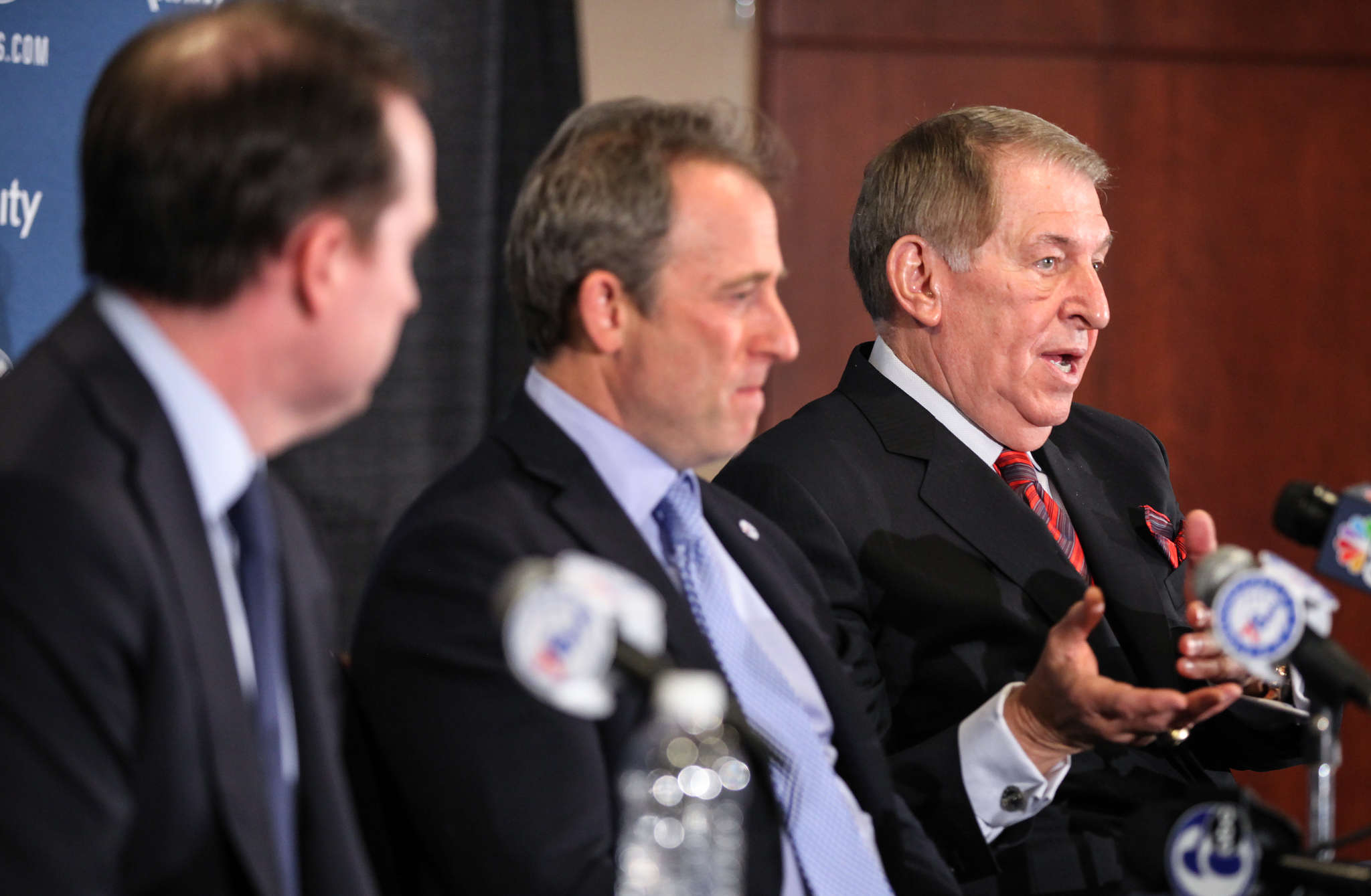 Since Sixers owner Josh Harris (center) and GM Sam Hinkie (left) announced the hiring of Jerry Colangelo (right) as chairman of basketball operations, Colangelo has been offering advice to Hinkie.