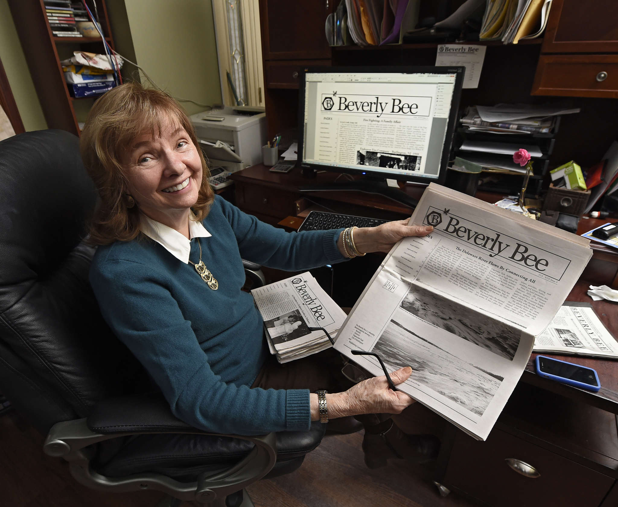 Beverly Haaf, 79, is editor and publisher of the Beverly Bee. Since she founded the Bee in 1999, the free monthly newspaper has expanded its coverage to Delanco, Edgewater Park, and Burlington City.
