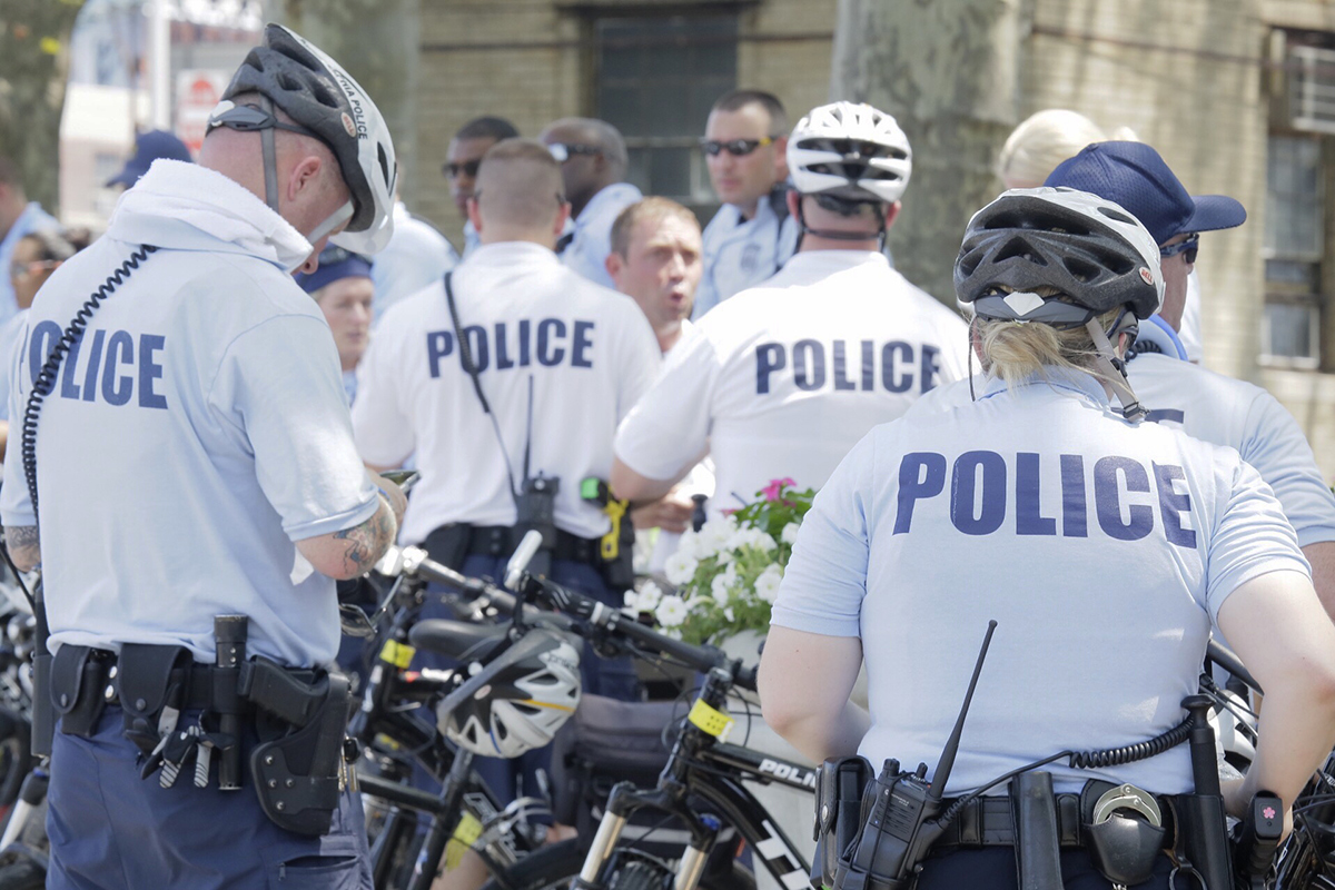 Police prepare for supporters of Bernie Sanders who are expected to march across the Ben Franklin Bridge into Phila. During the DNC in Phila., Pa. on July 25, 2016.