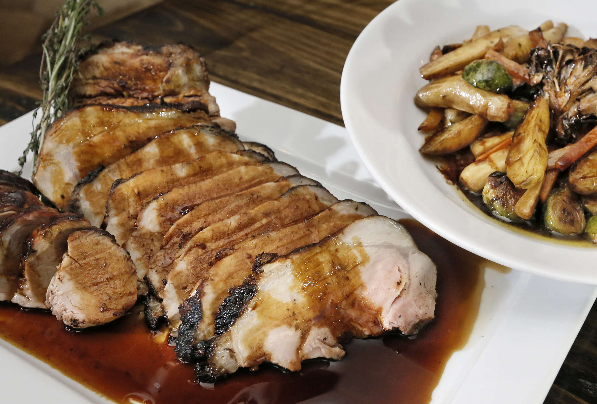 The 40-ounce pork porterhouse for two at South, 600 N. Broad St.