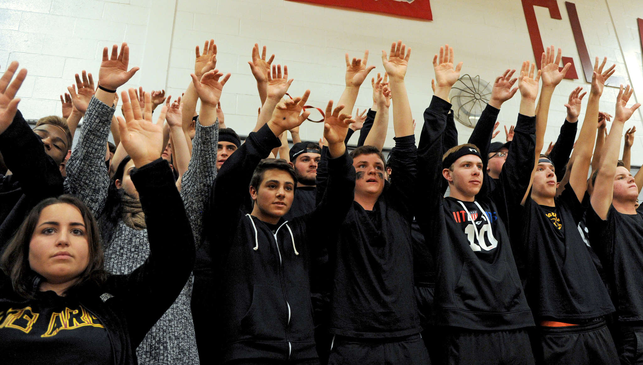 Haddon Heights´ Garnet Crazies, the student cheering section, in action during a game at Haddon Twp. TOM GRALISH / Staff