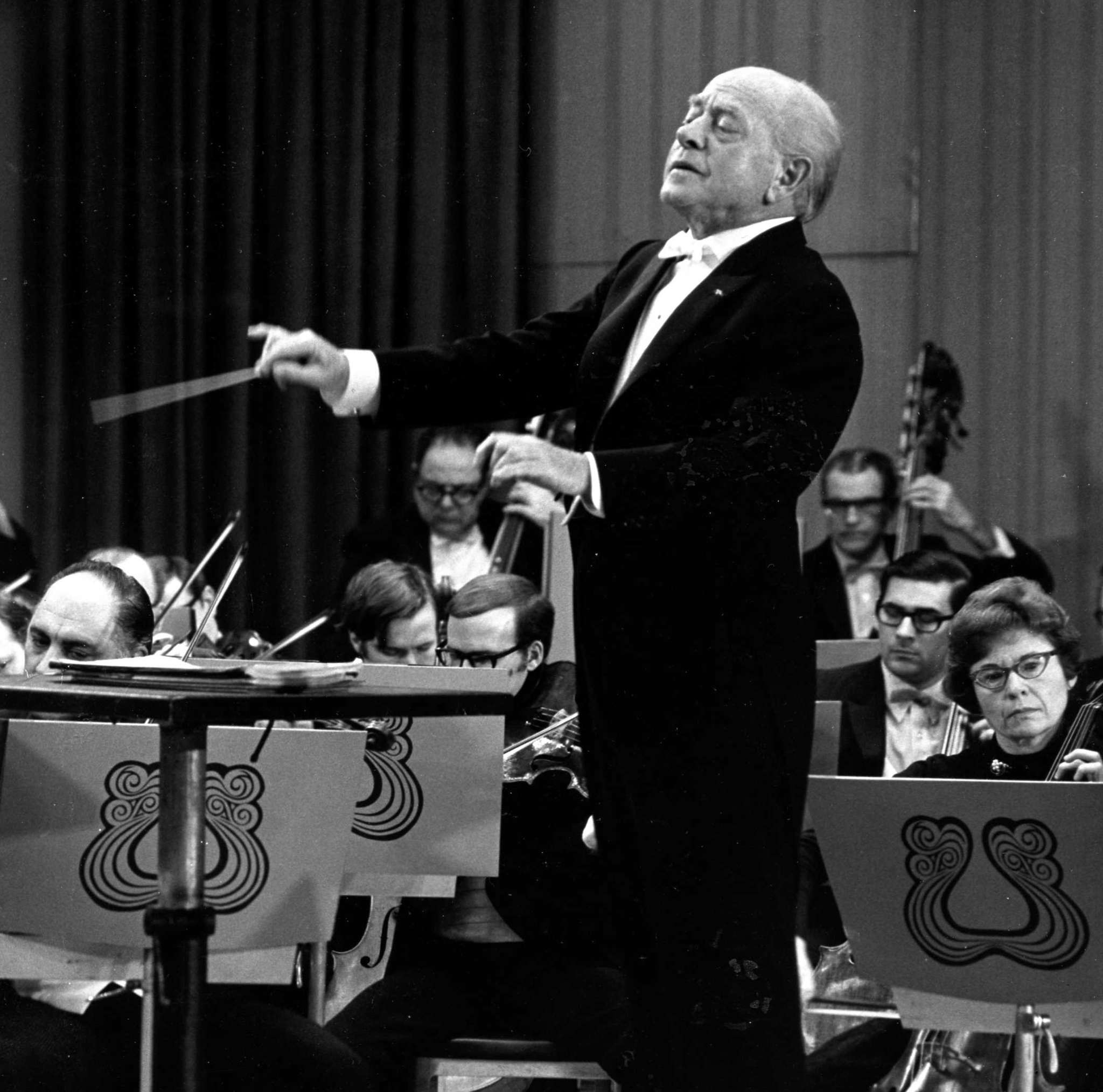 "Philadelphia Orchestra conductor Eugene Ormandy in 1971. In the end, he said of Bowie: ""The man is very good."""
