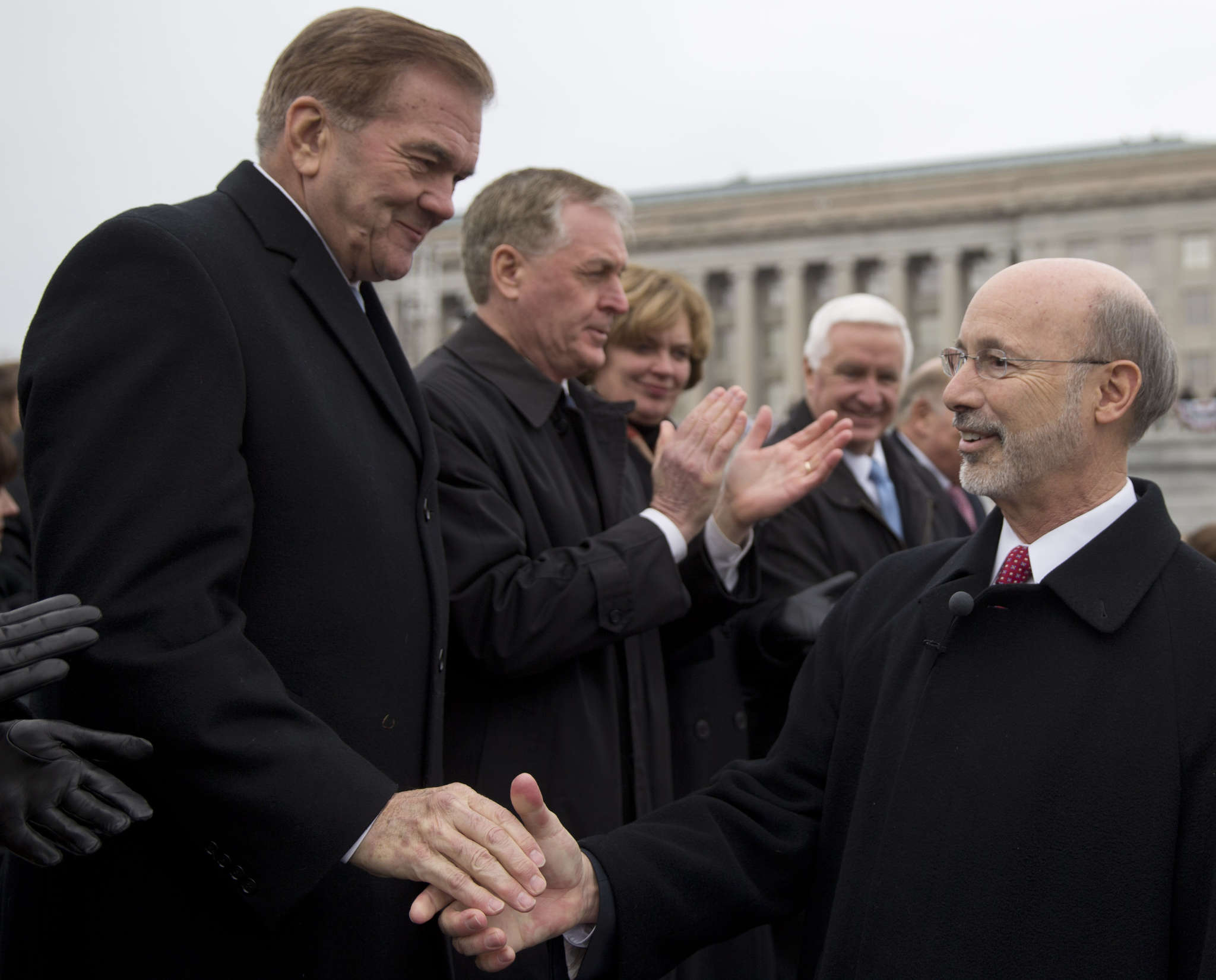 That´s newly minted Gov. Wolf a year ago, shaking hands with former Gov. Tom Ridge.