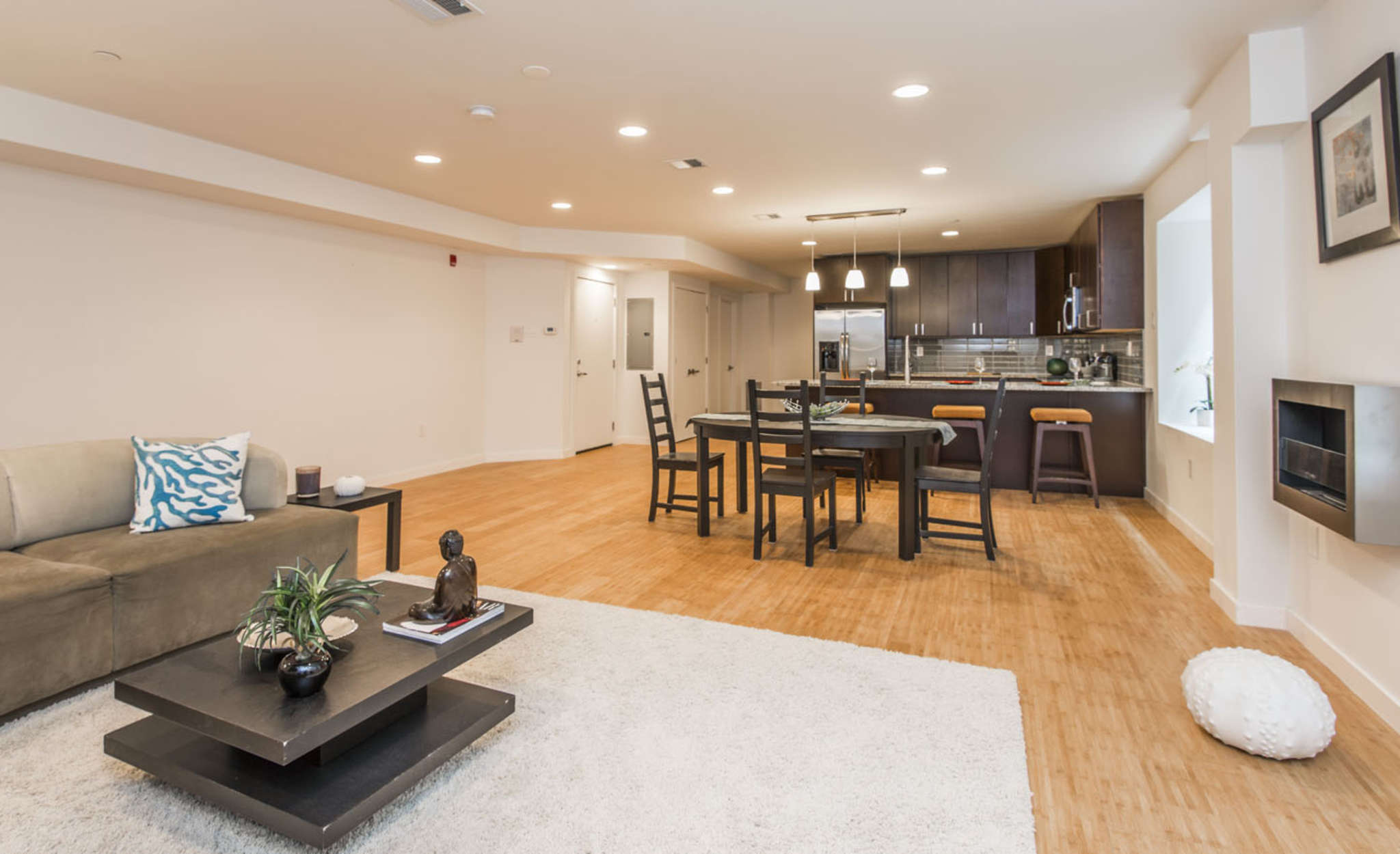 The main living space of the three-level unit at Falcon Condominiums in the 3800 block of Terrace Street in Manayunk.