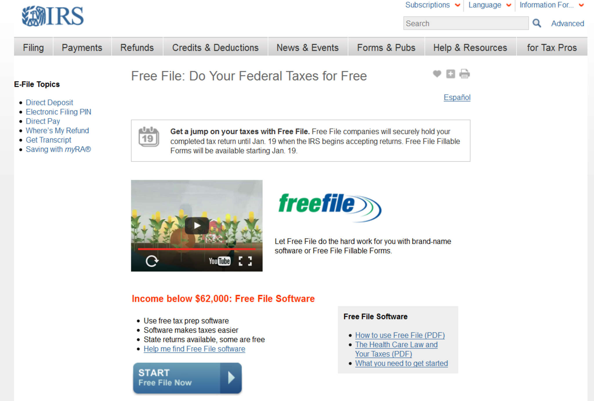 The Free File page at the IRS website. The filing period starts Tuesday.
