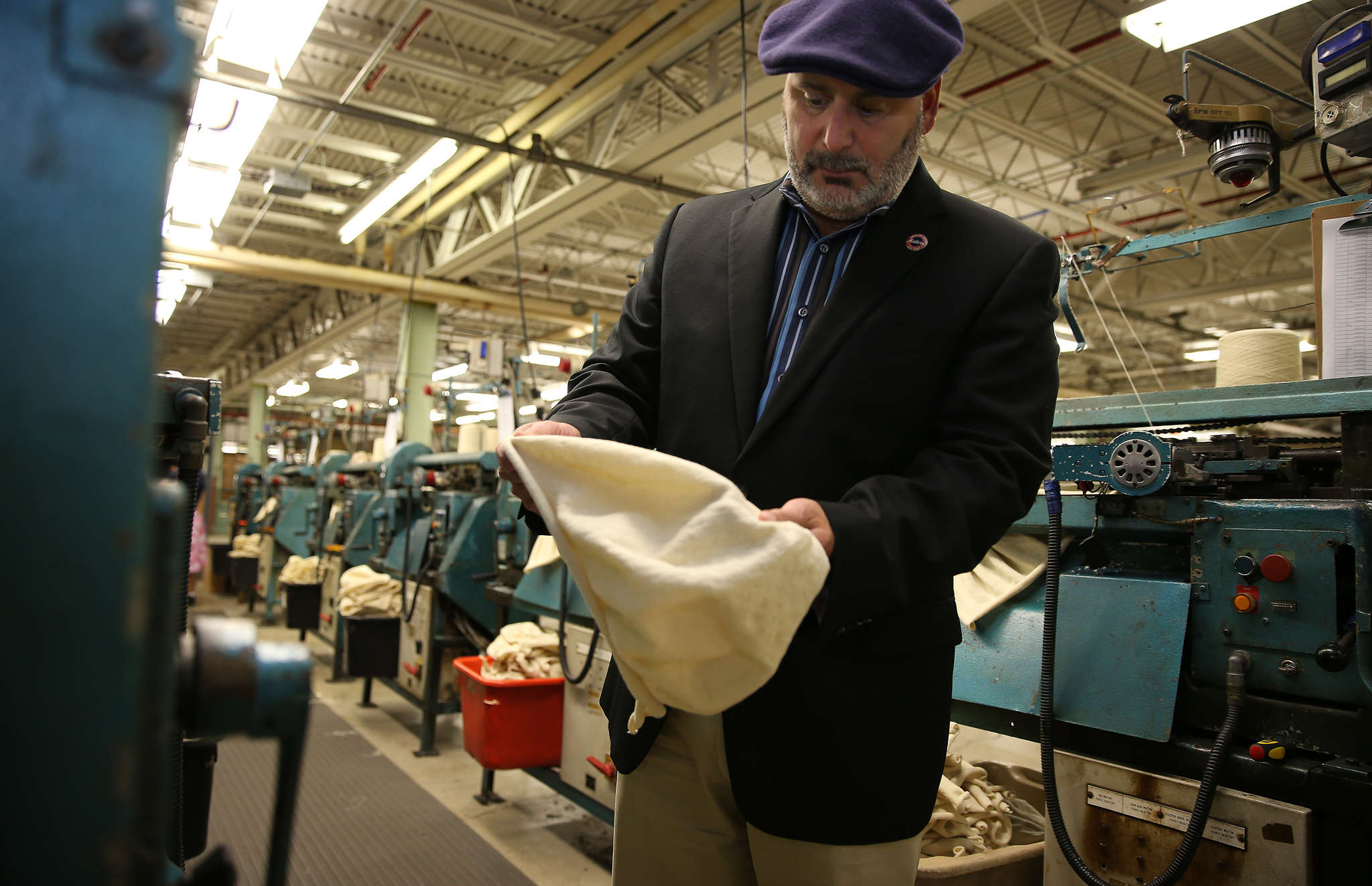 Don Rongione, CEO of Bollman Hat Co., in a Kangol 504. A campaign raised $100,000 to move the Kongol-making machinery from China to the U.S.