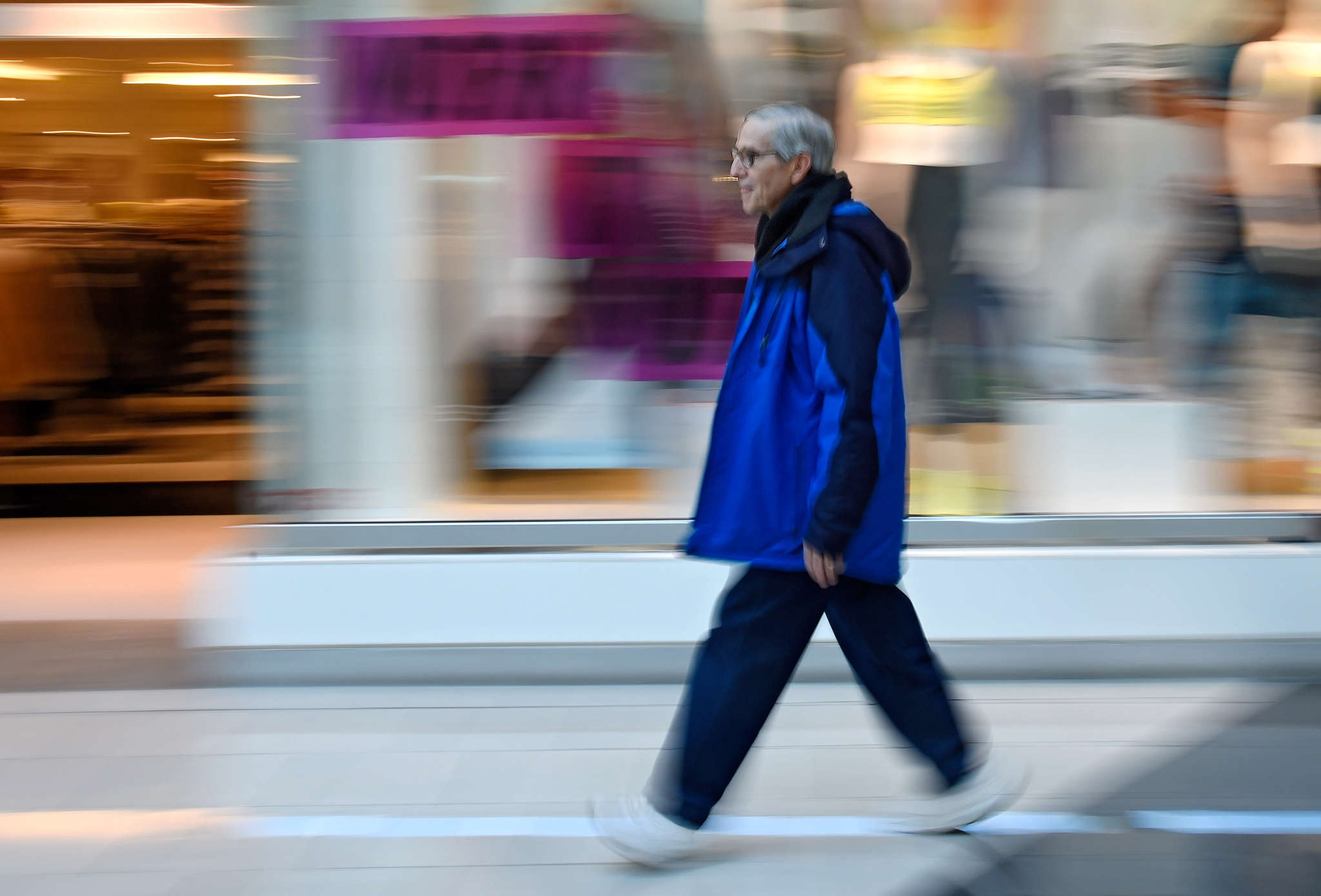 Mike Lefkoe, 70, walks Cherry Hill Mall. Victor Gruen designed Cherry Hill and other early malls as places where pedestrians and shoppers could gather as well as buy things.