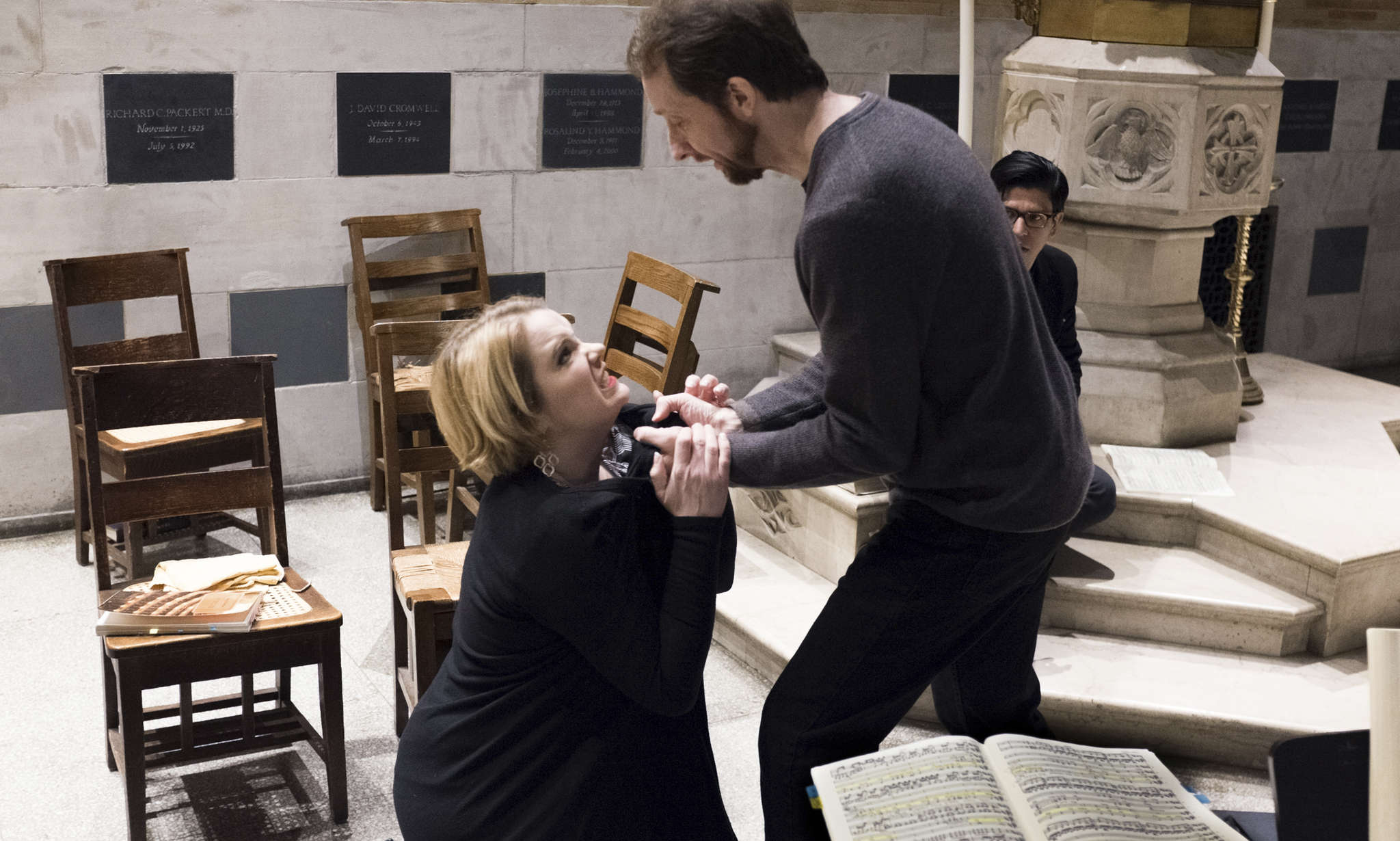 "Soprano Amy Shoremount-Obra and baritone David Kravitz rehearse for Grand Harmonie´s performance of Beethoven´s ""Fidelio."""