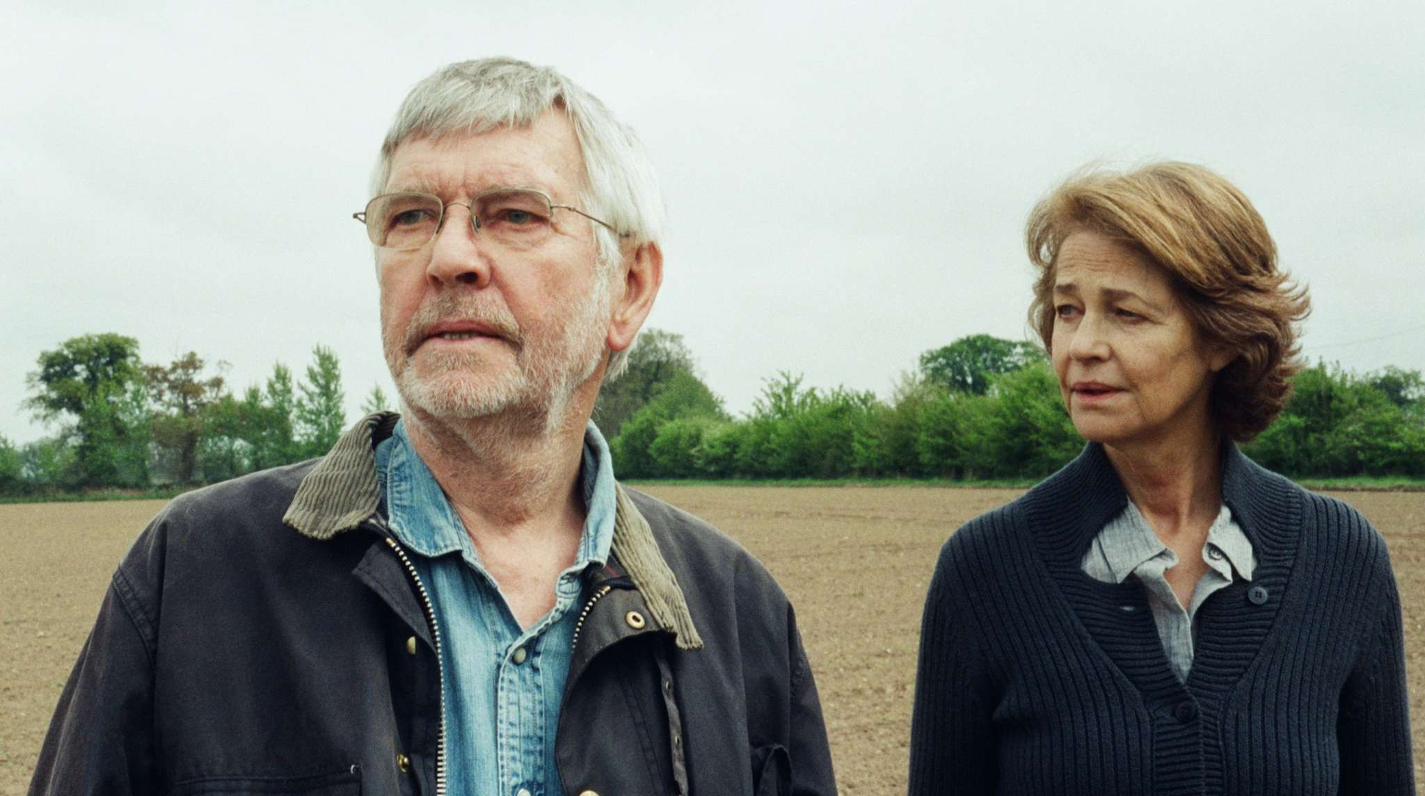 "Tom Courtenay and Charlotte Rampling as a couple whose marriage is unsettled by news of the past in ""45 Years."""