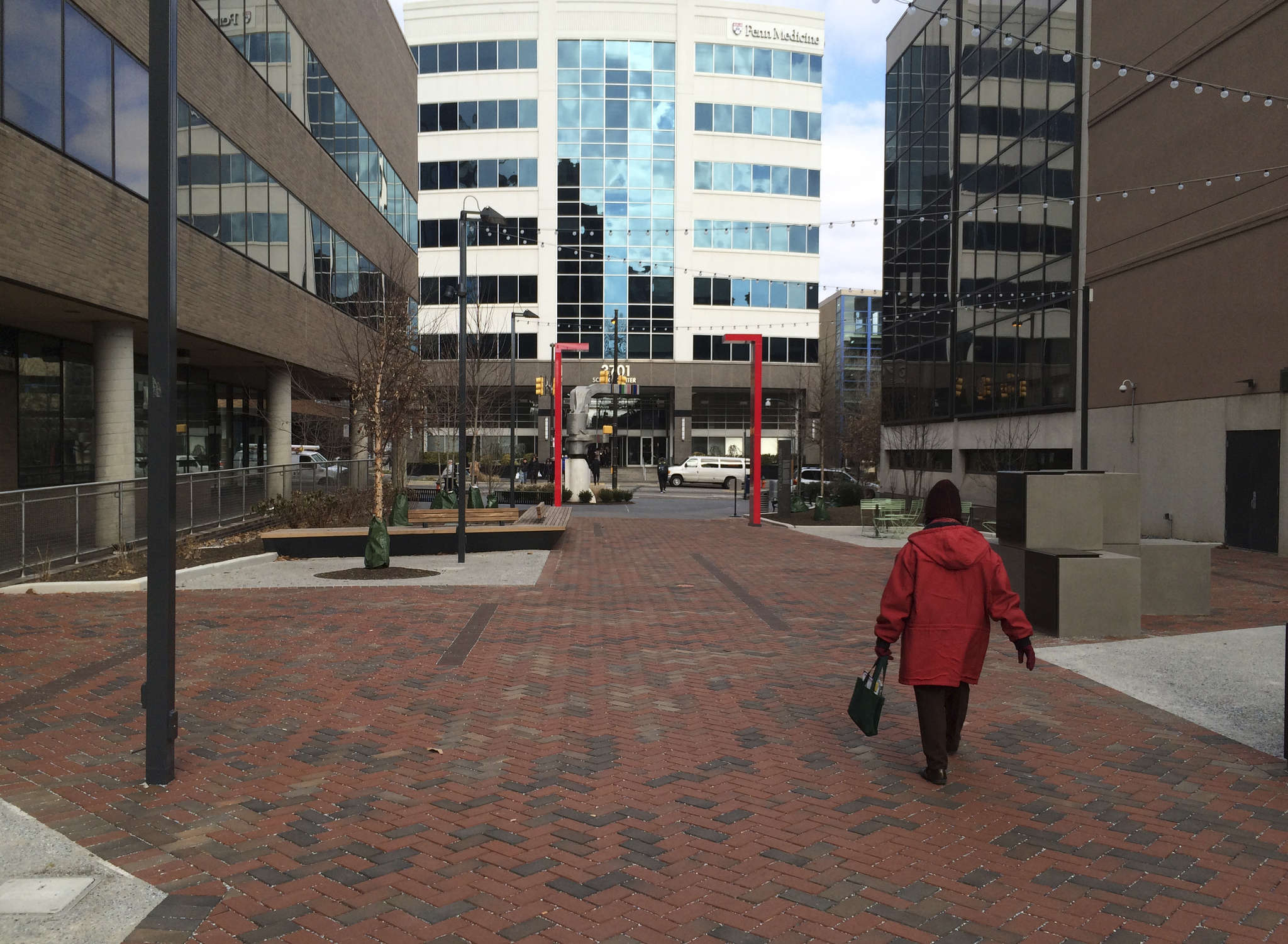 In March, lead developers Wexford and University City Science Center will etch new streets into the huge site. An effort to landscape the 37th Street walkway to the new uCitySquare is just brick pavers and chairs.