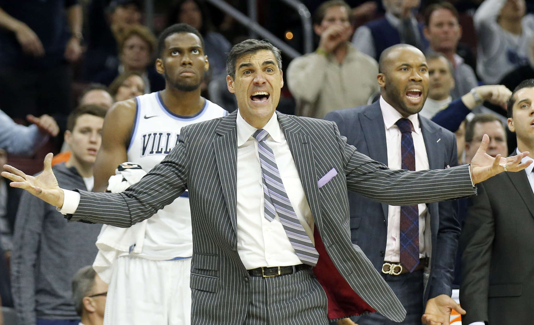 Coach Jay Wright reacts to a call during Villanova´s overtime loss to Providence, one of only three defeats for the Wildcats this season.