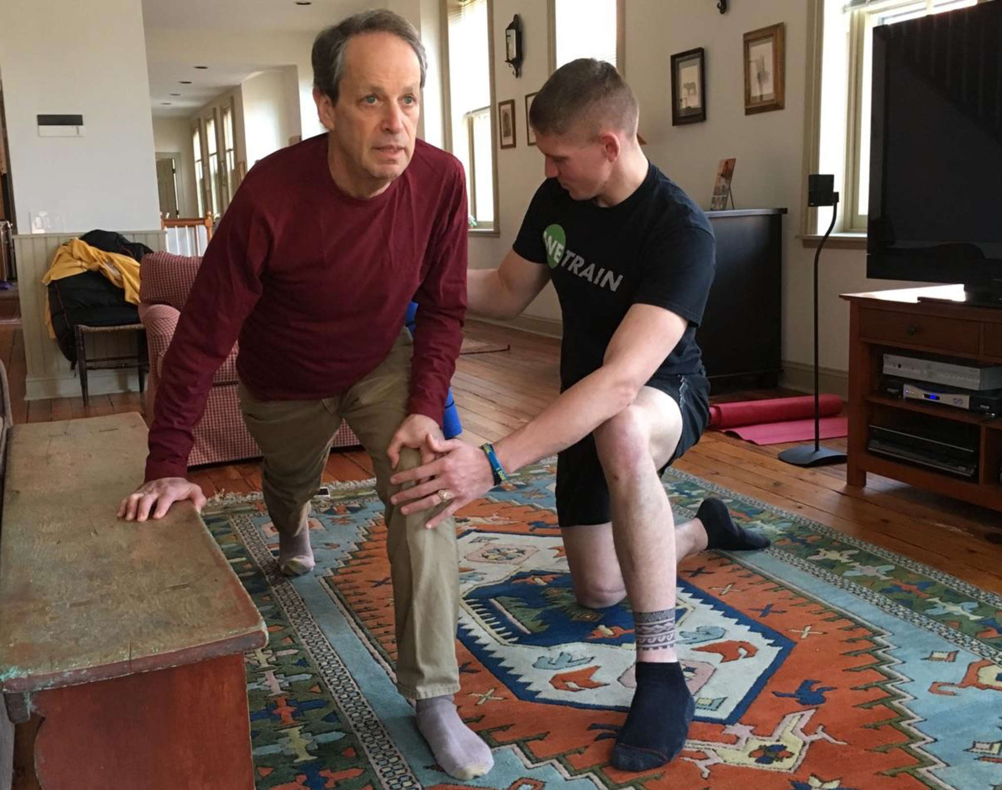 WeTrain´s Mitch Brudy puts reporter Jonathan Takiff through his paces. WeTrain, based in Philadelphia, offers personal trainers on call through the company´s mobile app and available anywhere.