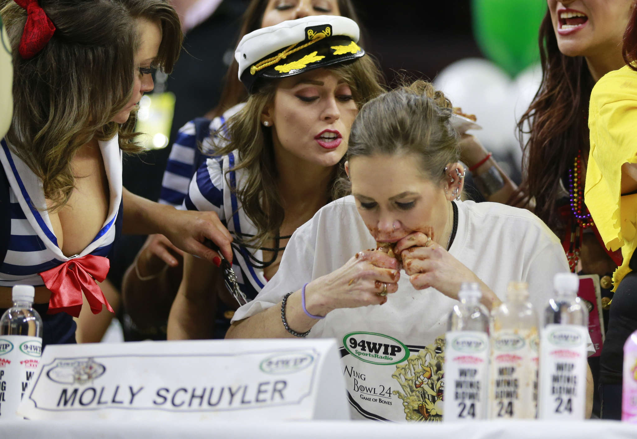 Molly Schuyler is the champion, with 429 wings, at Wing Bowl 24 on Friday at the Wells Fargo Center.
