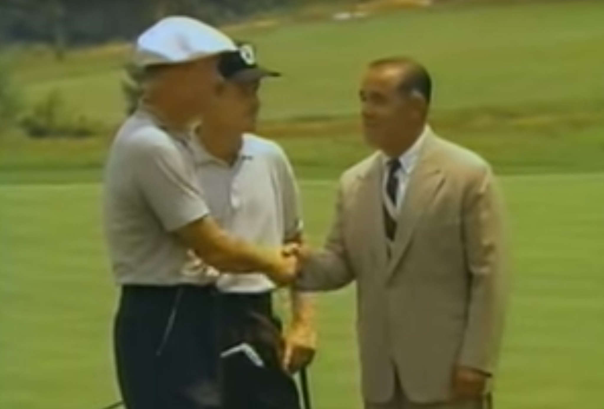 "Pine Valley, the ultra-exclusive club in Clementon, N.J., was the site of a 1962 match between Byron Nelson (left) and Gene Littler, here with narrator Gene Sarazen, that was broadcast on ""Shell´s Wonderful World of Golf."""