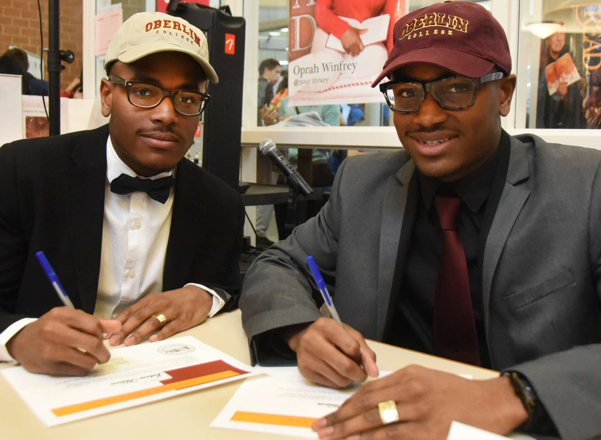 Timber Creek´s Jabree (left) and Jubreel Hason are headed to Oberlin. The twins are athletic and academic stars, driven by strong family ties. CURT HUDSON / For The Inquirer