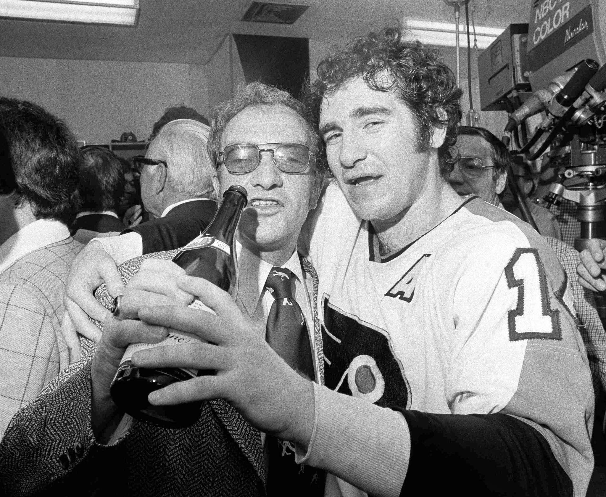 Flyers coach Fred Shero and defenseman Joe Watson celebrate on May 20, 1974, what was the first of back-to-back Stanley Cup victories. The Flyers have made eight Cup finals, winning only those two.