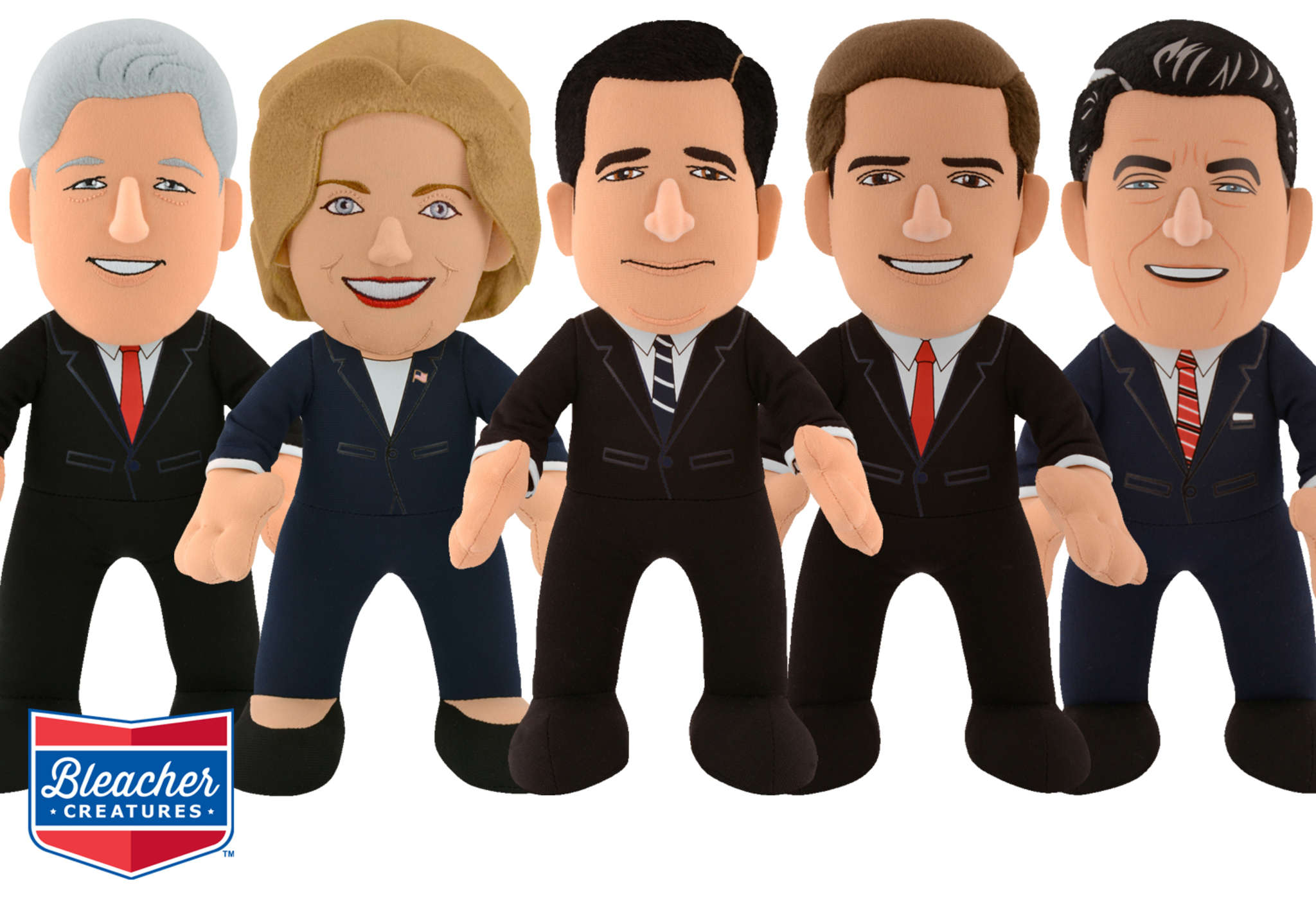 The latest plush figurines are (from left) Bill and Hillary Clinton, Ted Cruz, Marco Rubio, Ronald Reagan.