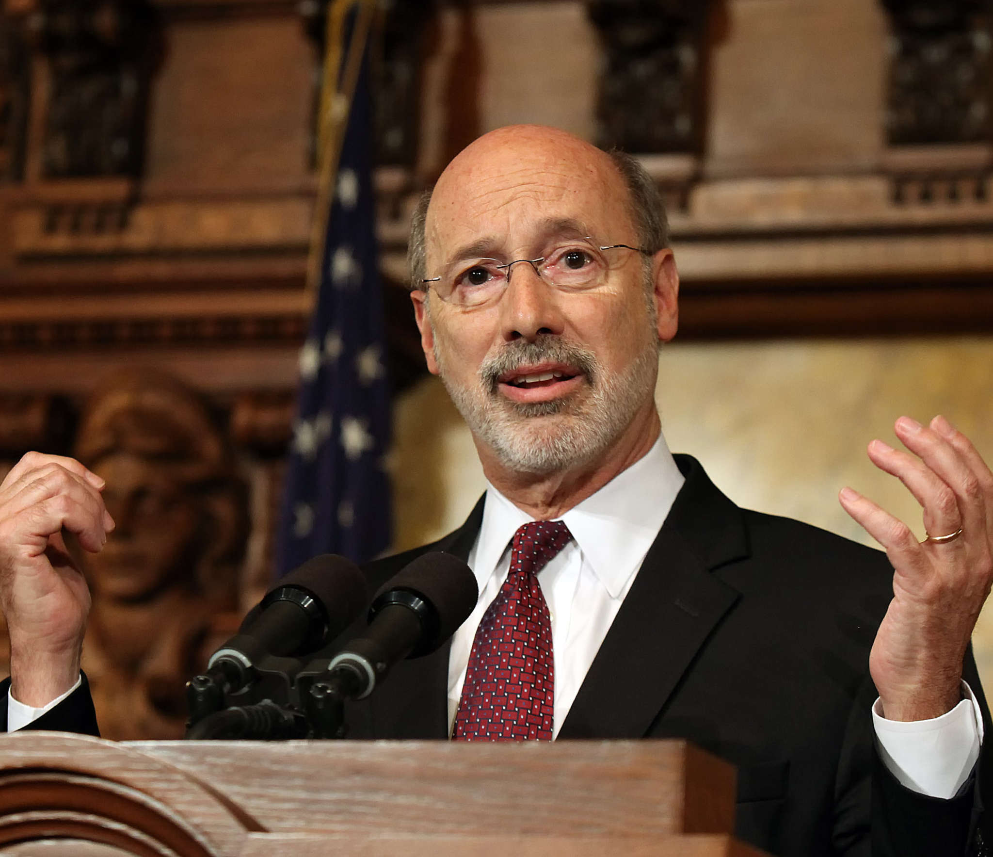 Gov. Wolf is accused of firing the husband of Sen. Lisa Baker out of retribution. Associated Press