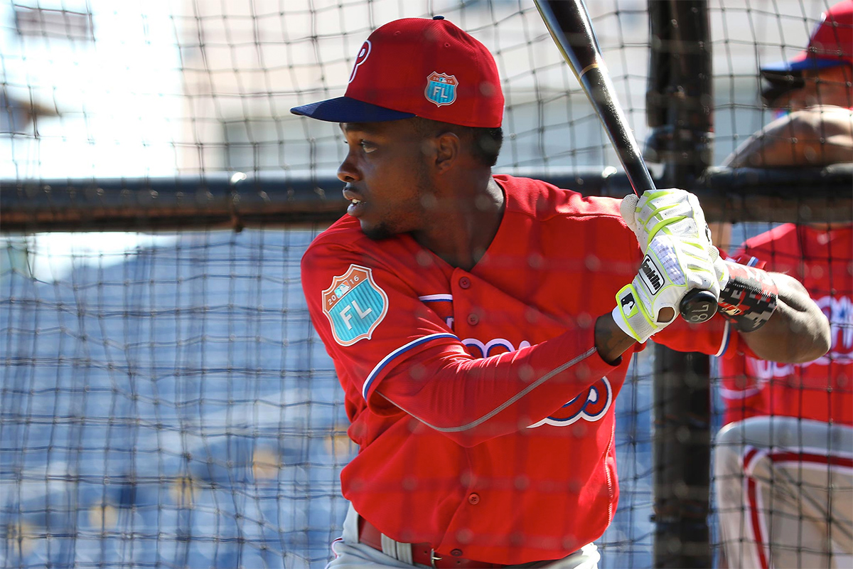 Phillies´ Roman Quinn takes his turn at batting practice during Phillies Spring Training in Clearwater, Fl on February 19, 2016.