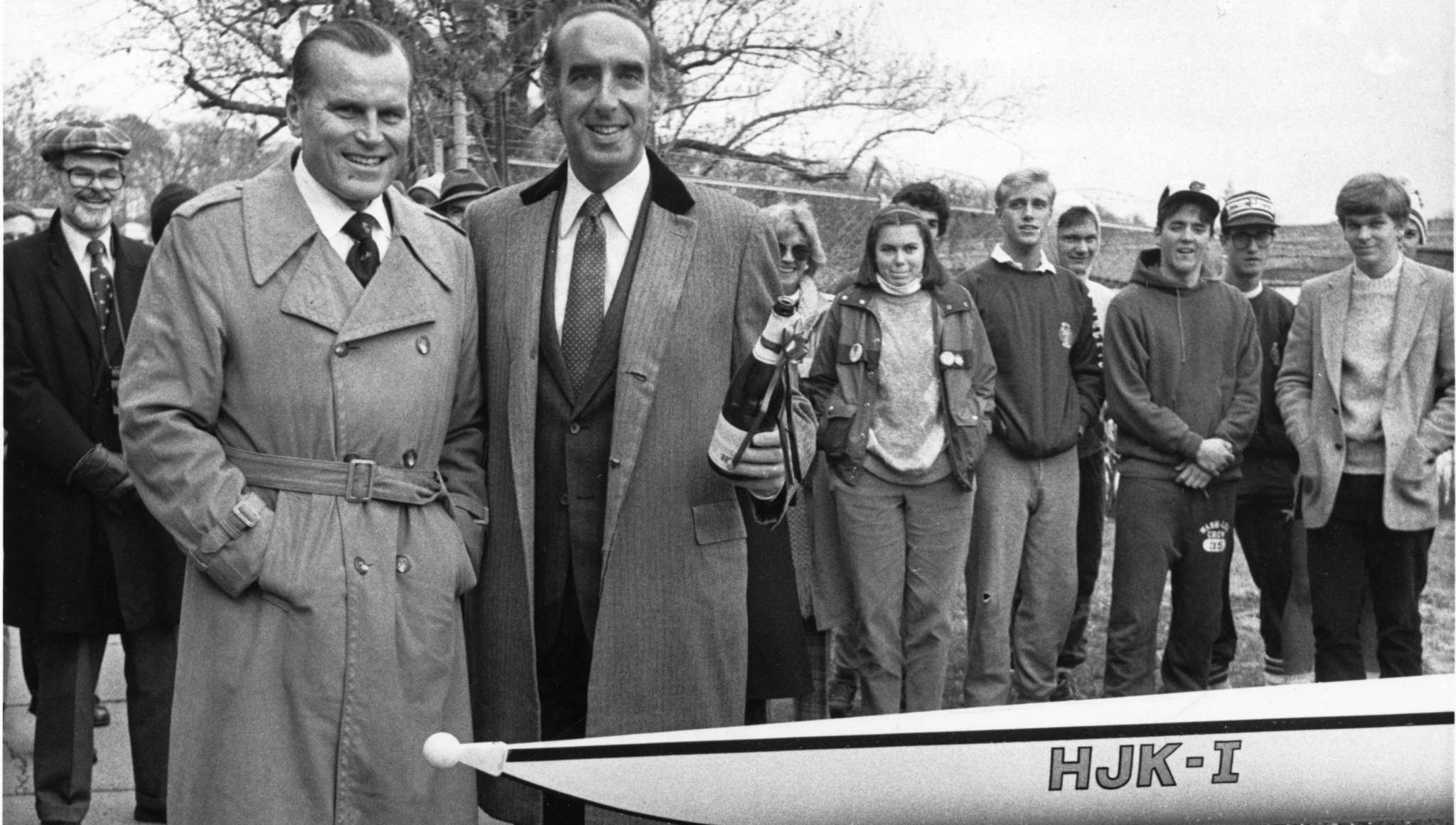 Jack Kelly (left) and Katz in 1984 after the christening of two racing shells.