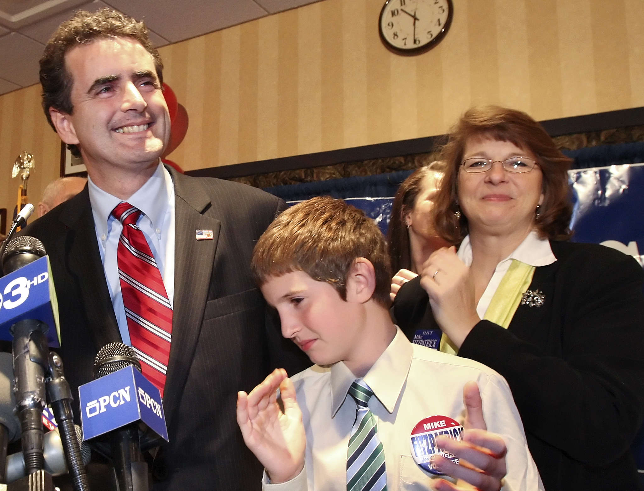 U.S. Rep. Mike Fitzpatrick , with his wife, Kathy, and son Tommy, says his concern is a constituent issue. STEVEN M. FALK / File Photo