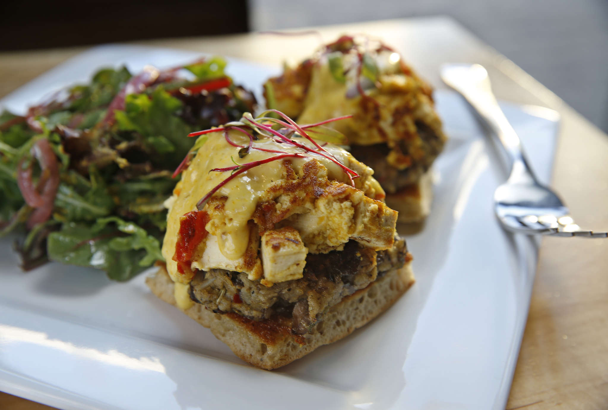 The Front Street Benedict, a tofu scramble over mushroom scrapple.