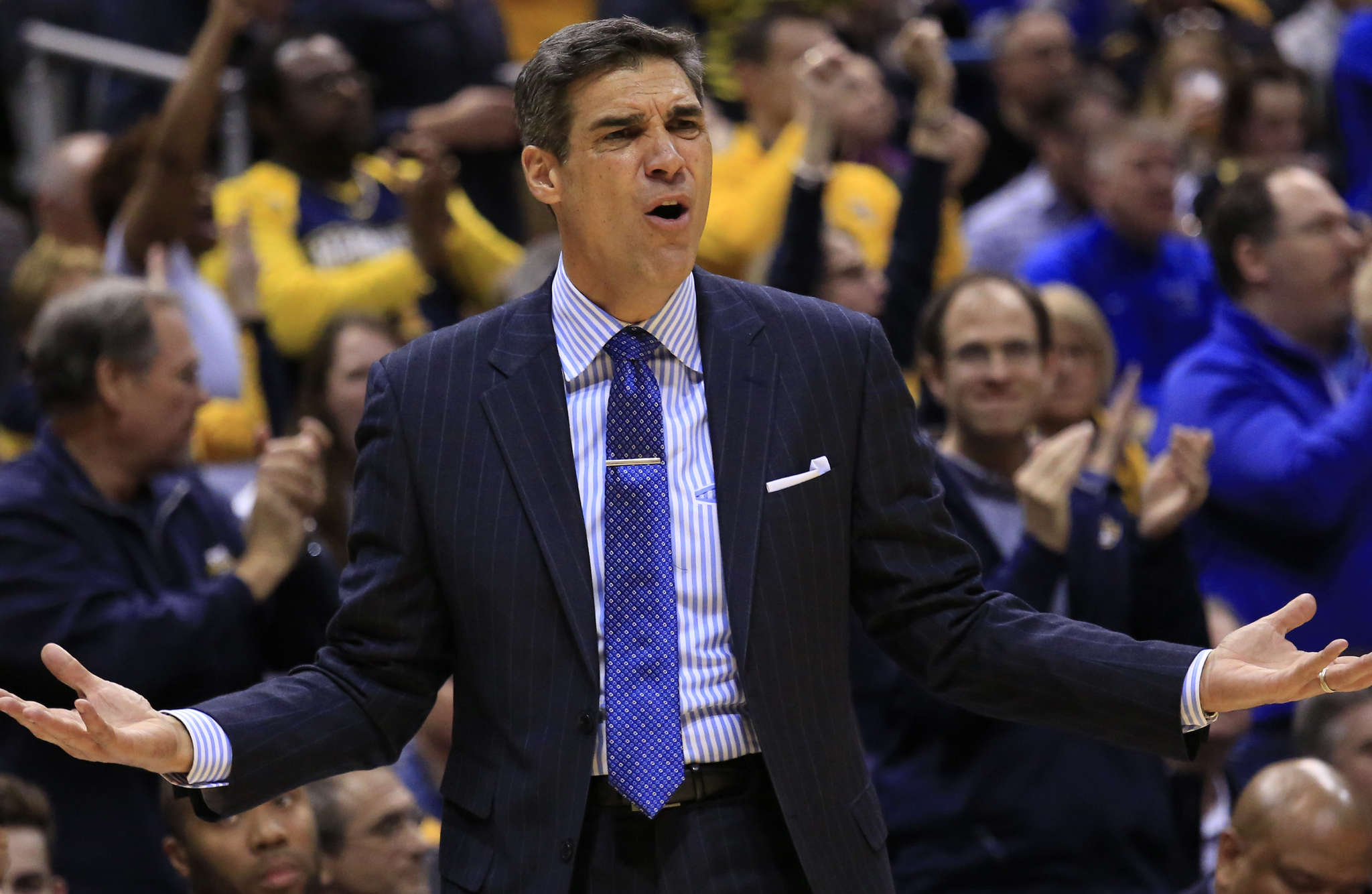 Villanova coach Jay Wright reacts to a call during win over Marquette on Saturday. Associated Press