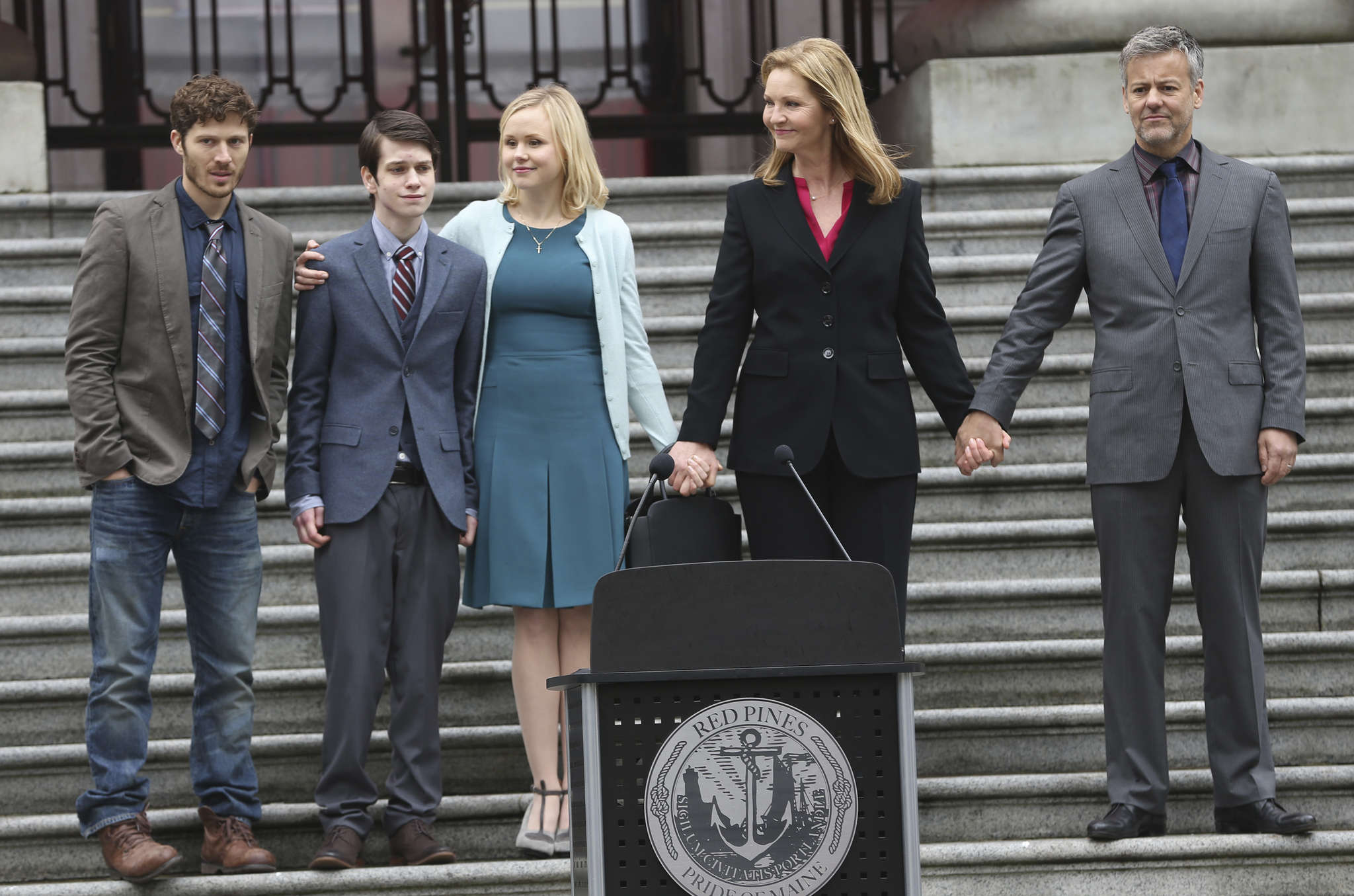 """The Family,"" a thriller about the return of a politician´s young son who was presumed dead, stars (from left) Zach Gilford, Liam James, Alison Pill, Joan Allen, and Rupert Graves."