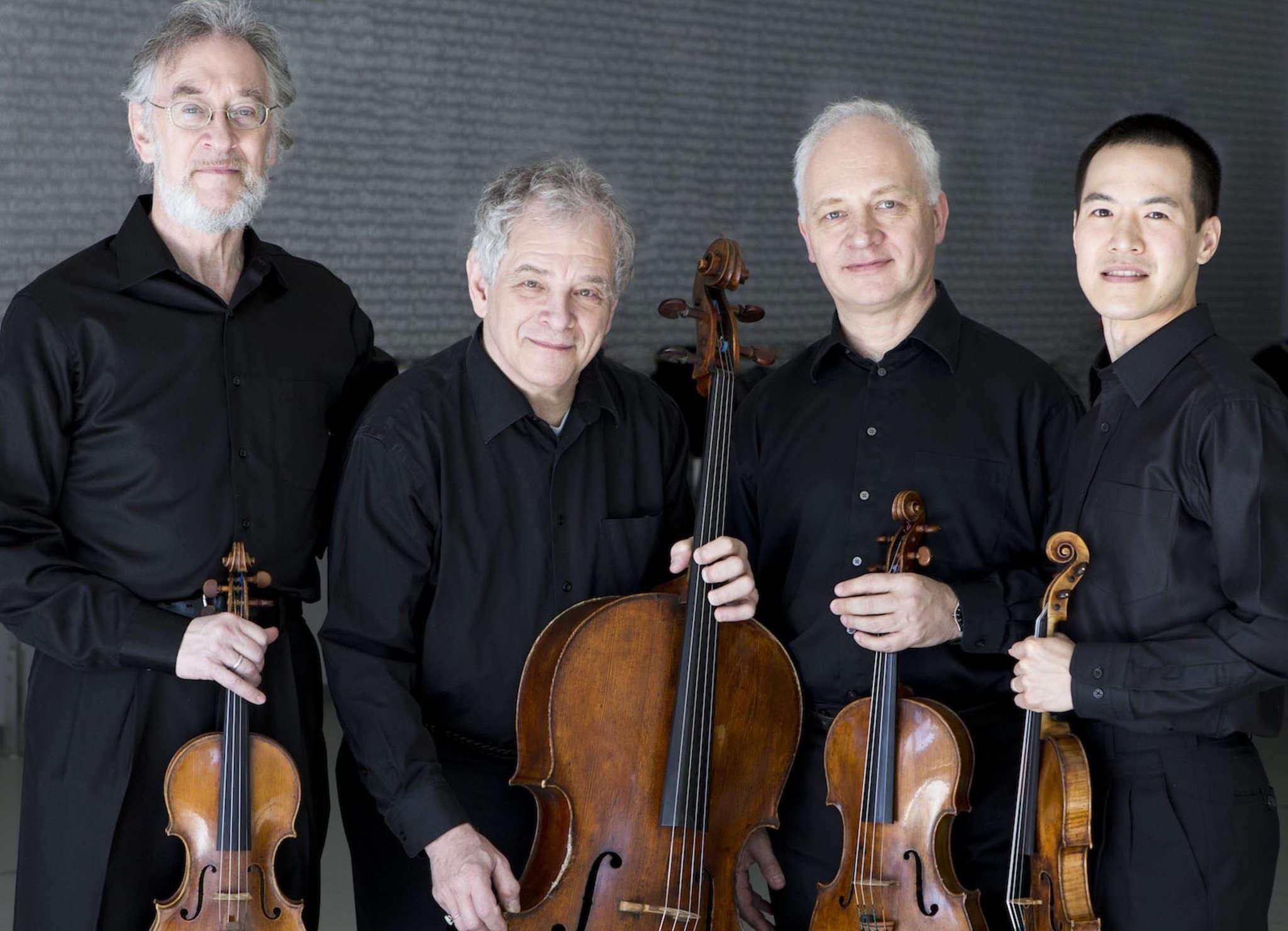The Juilliard String Quartet : (from left) Ronald Copes, Joel Krosnick, Roger Tapping, and Joseph Lin. SIMON POWIS