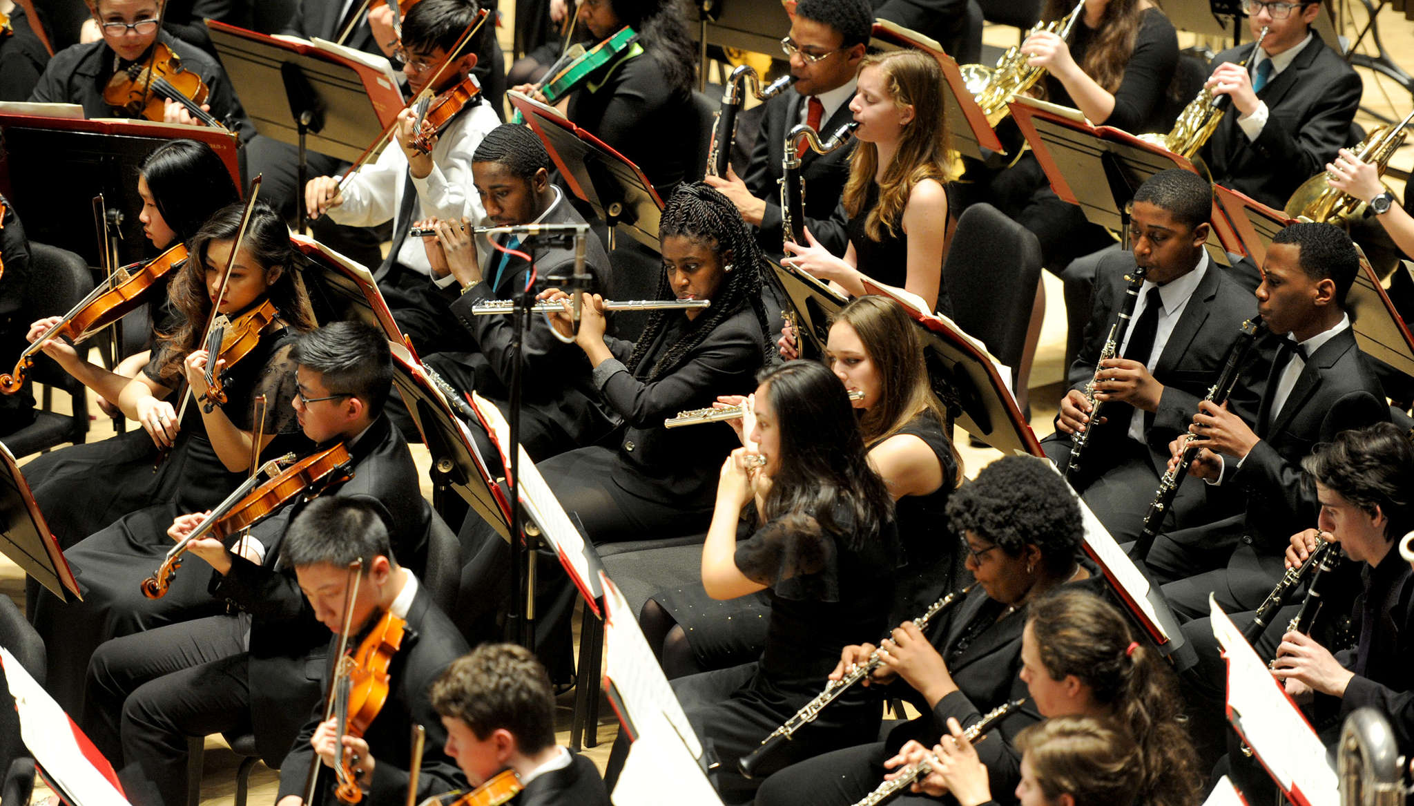 The All City Orchestra, made up of high school students, at the Kimmel Center.