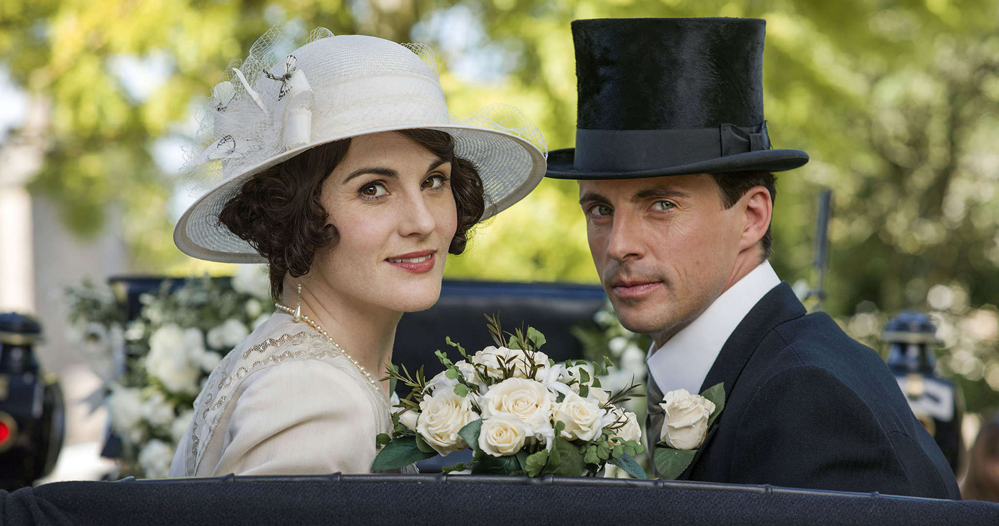 Michelle Dockery and Matthew Goode as newlyweds Lady Mary and Henry Talbot. Is marriage also in the cards for sister Edith in the series finale?