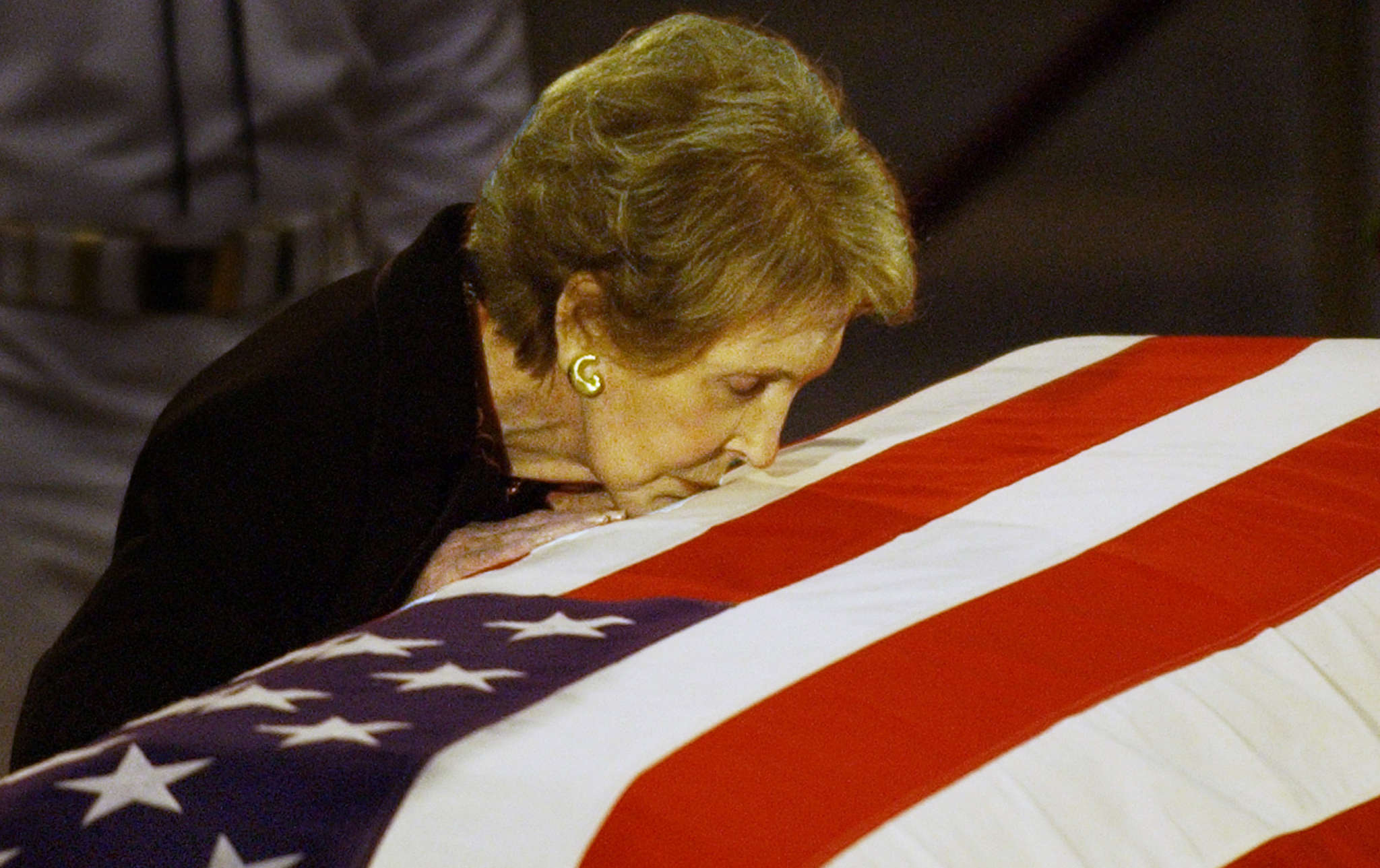 Former first lady Nancy Reagan during funeral services for her husband, President Ronald Reagan, who died in June 2004 at age 93.
