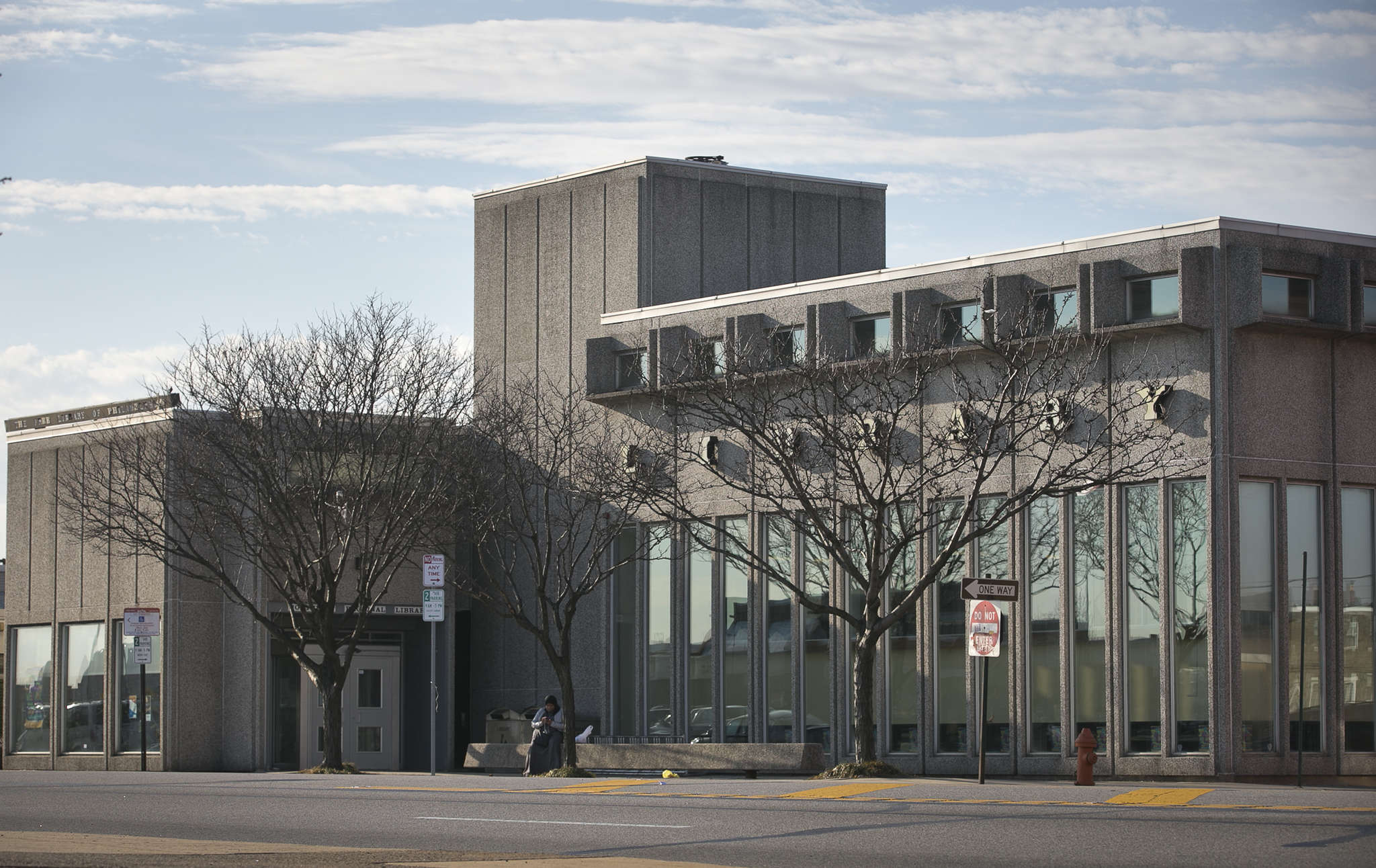 The Northeast Regional Library on Cottman Avenue opened in 1963. It´s the work of Geddes Brecher Qualls Cunningham, in a style then called Brutalism, but now called Heroic.