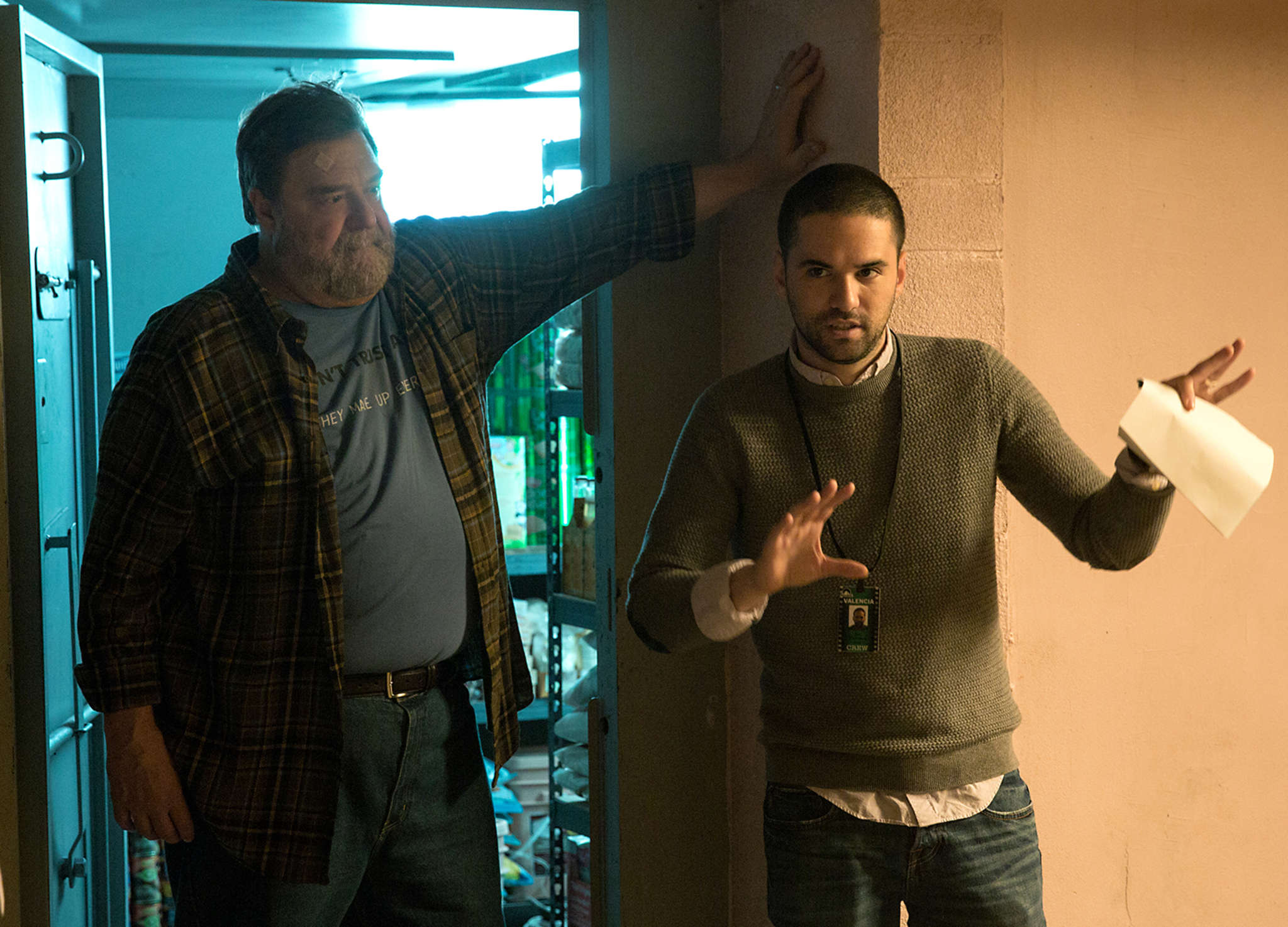 "Director Dan Trachtenberg (right) on the set of ""10 Cloverfield Lane"" with John Goodman. The 34-year-old studied at Temple before going to Hollywood, where he made TV commercials and an online short before J.J. Abrams tapped him for the feature."