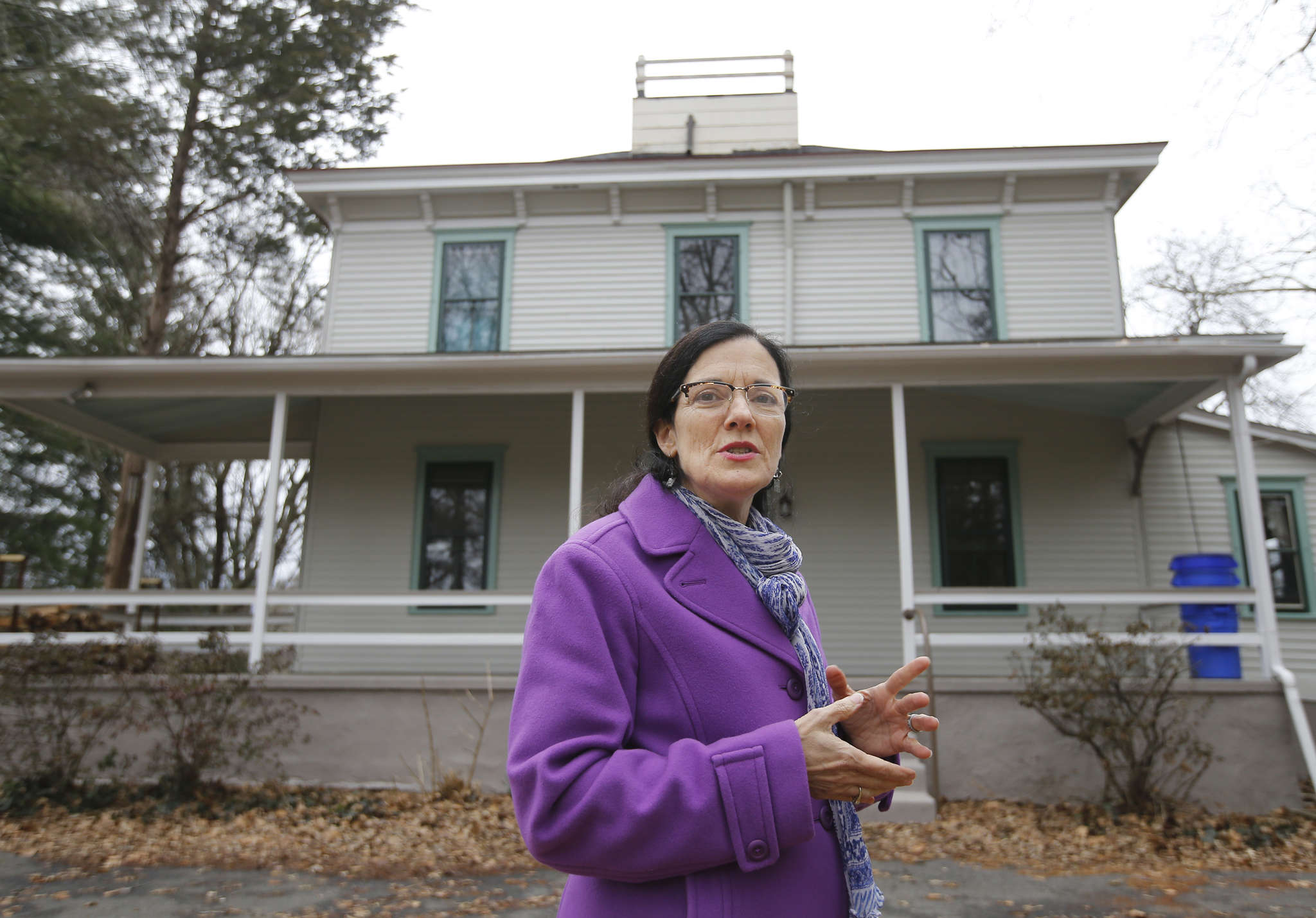Collingswood Borough Commissioner Joan Leonard stands in front of the house in Knight Park.