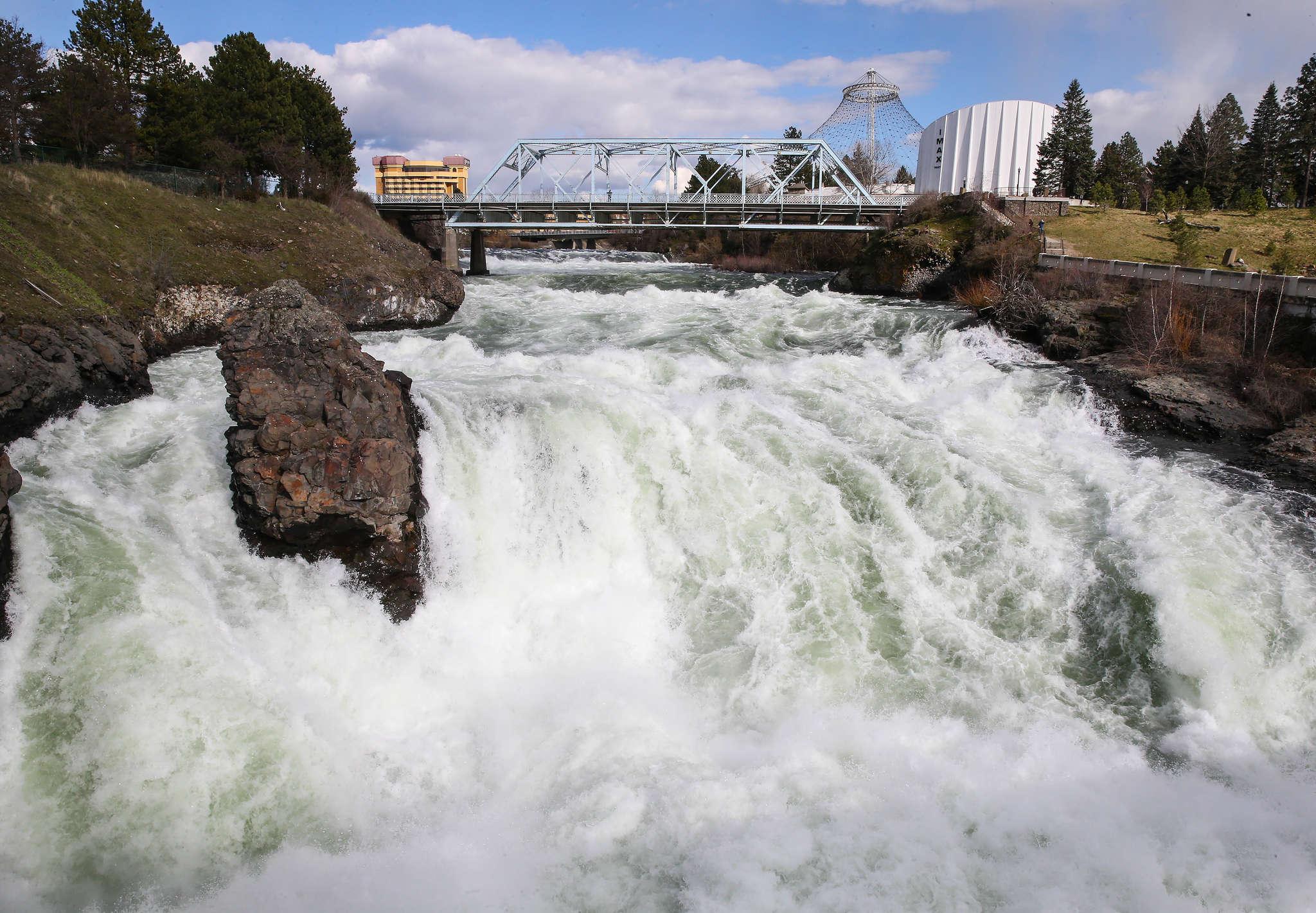 The Spokane Falls roar through the city. STEVEN M. FALK / Staff Photographer