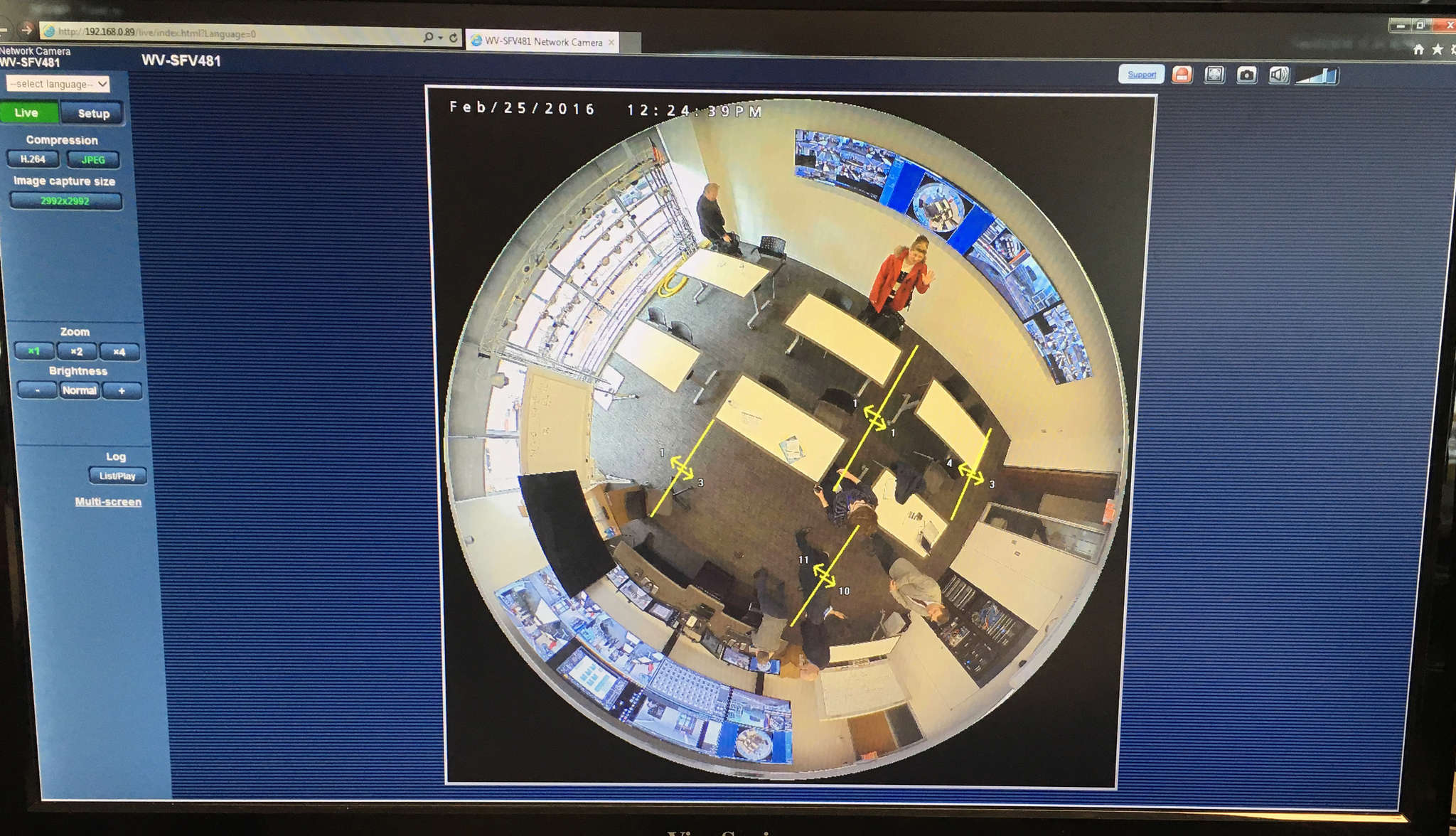 View from the Panasonic i-Pro Ultra 360, a whole-room observer that can count and track all customers´ moves.