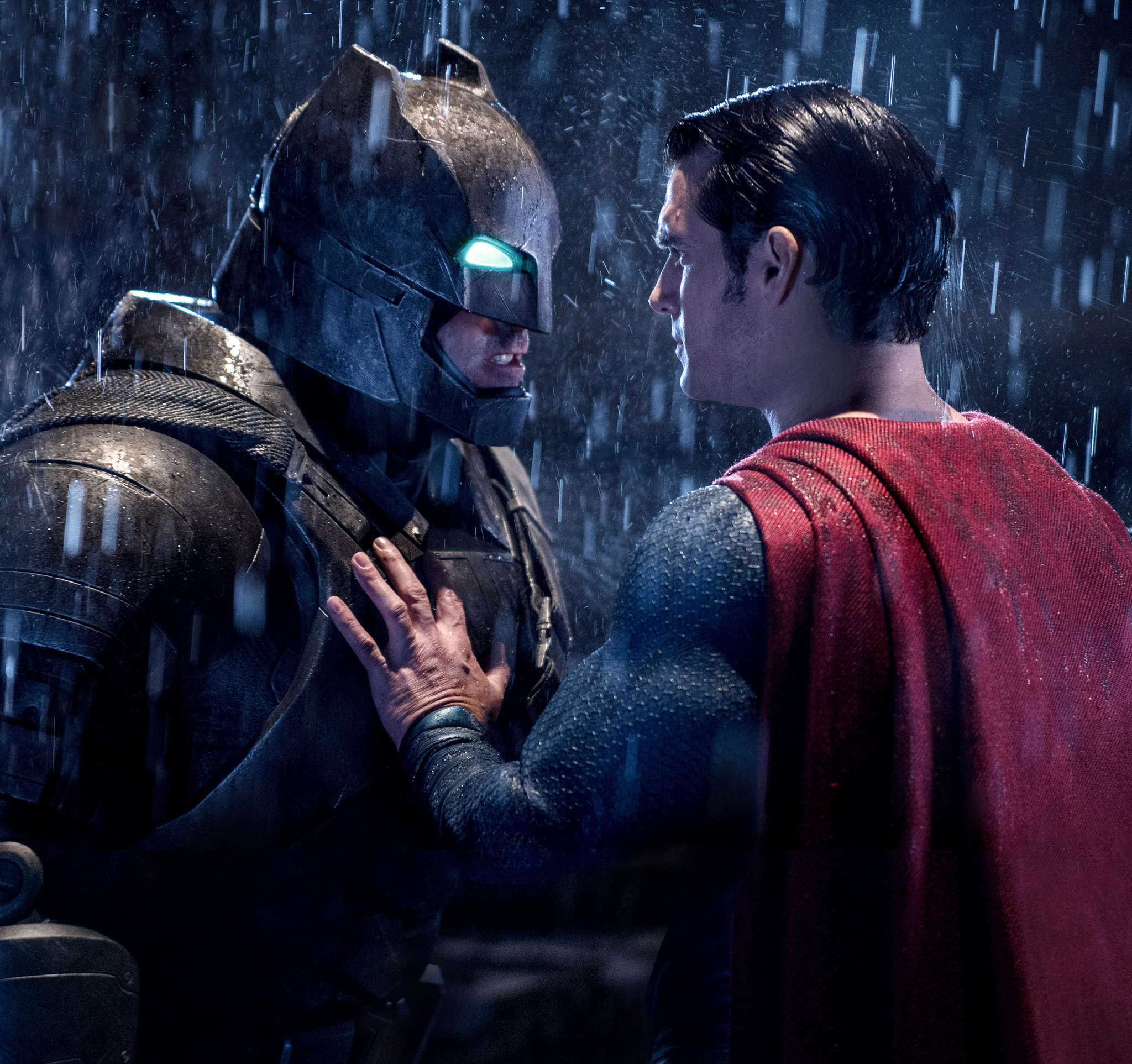 "Pugnacious superpoweredness: Ben Affleck (left) and Henry Cavill in ""Batman v Superman: Dawn of Justice."""