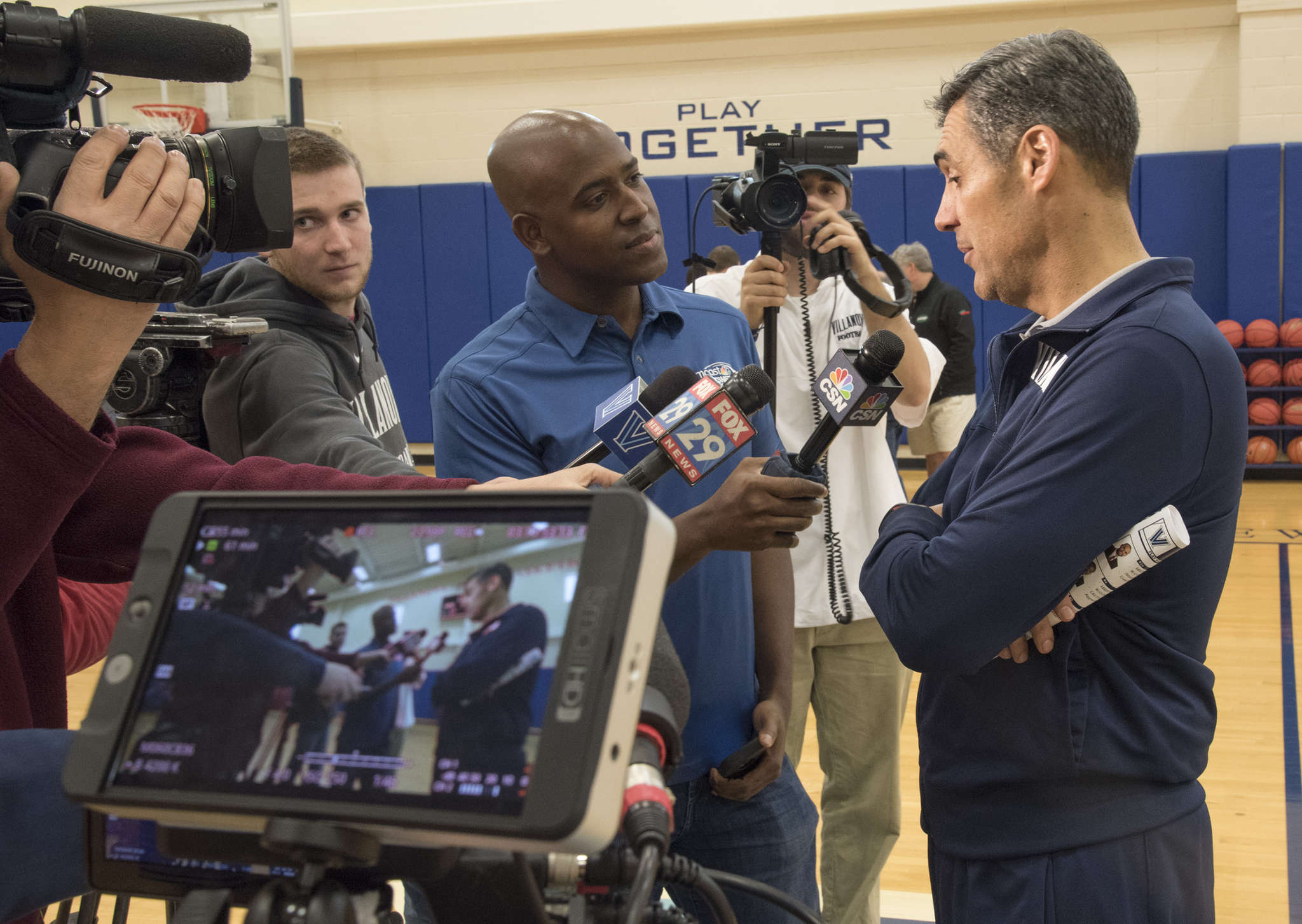 Villanova´s Jay Wright chats with the mediaon Monday. CLEM MURRAY / Staff Photographer