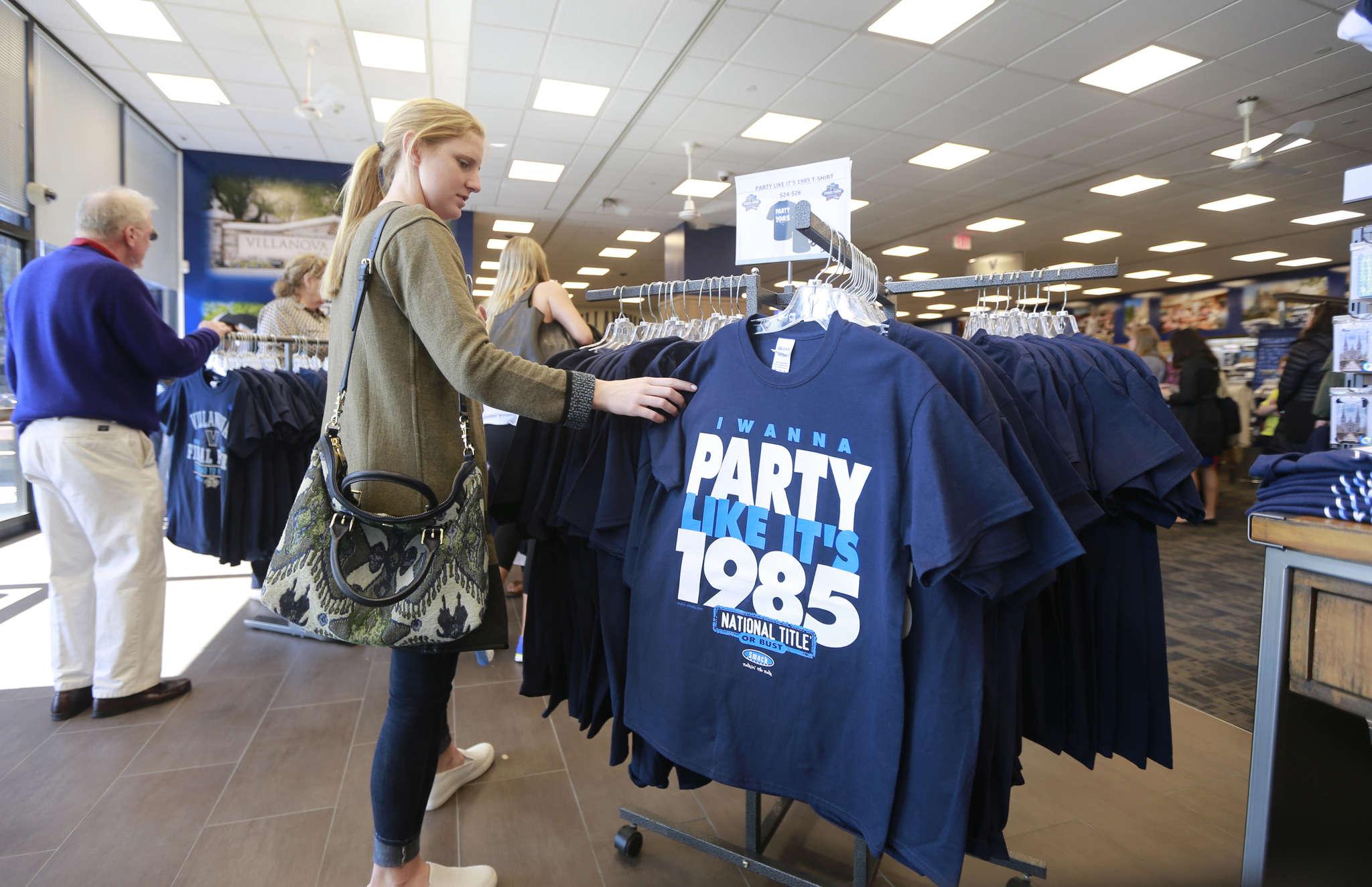 Villanova University senior Michelle Weise, 21, shops at Villanova University Shop, where sales of Wildcats gear have been brisk.